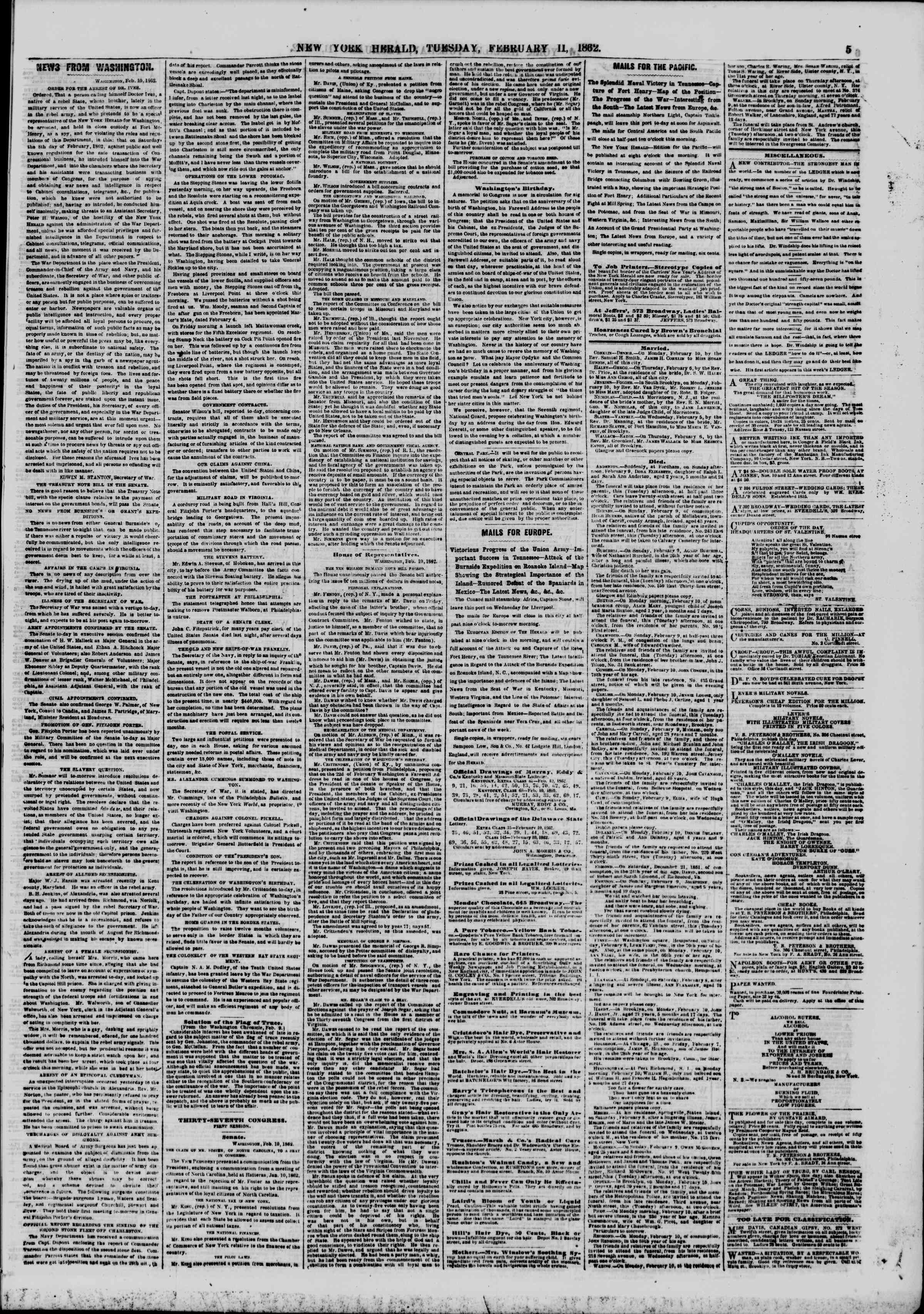 Newspaper of The New York Herald dated February 11, 1862 Page 5