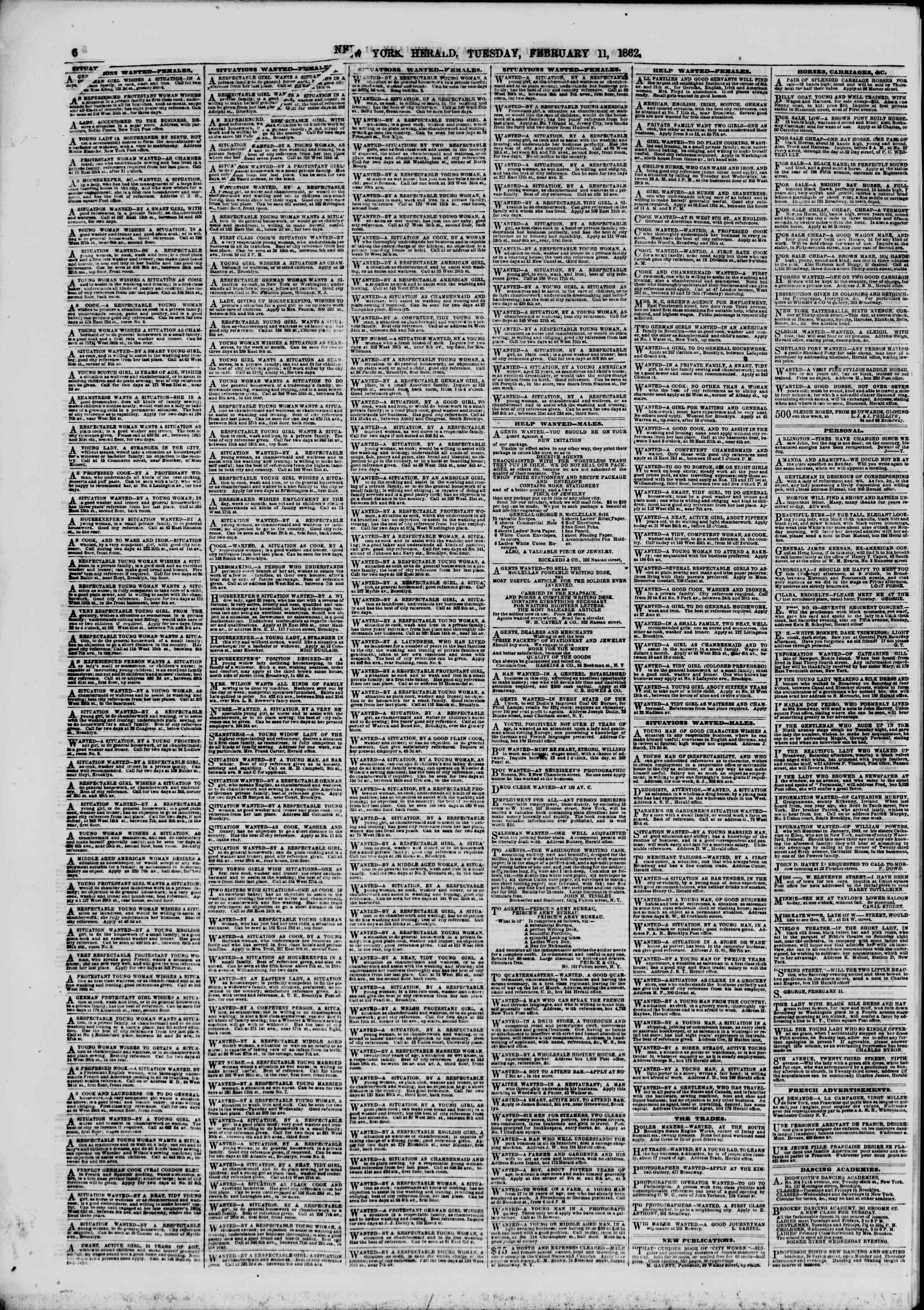 Newspaper of The New York Herald dated February 11, 1862 Page 6