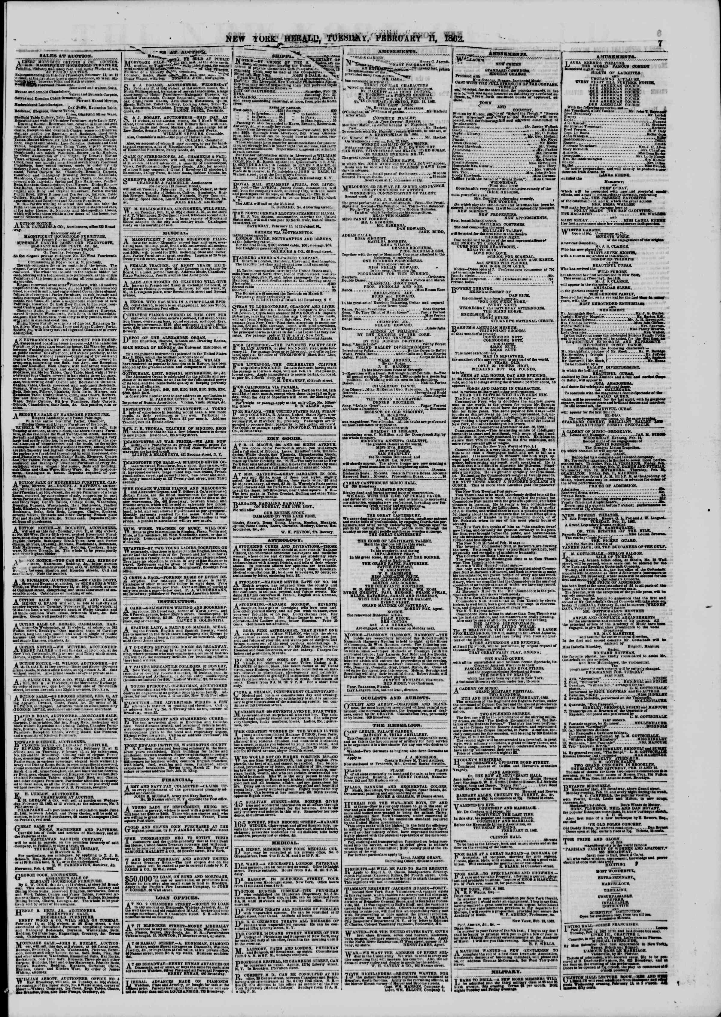 Newspaper of The New York Herald dated February 11, 1862 Page 7