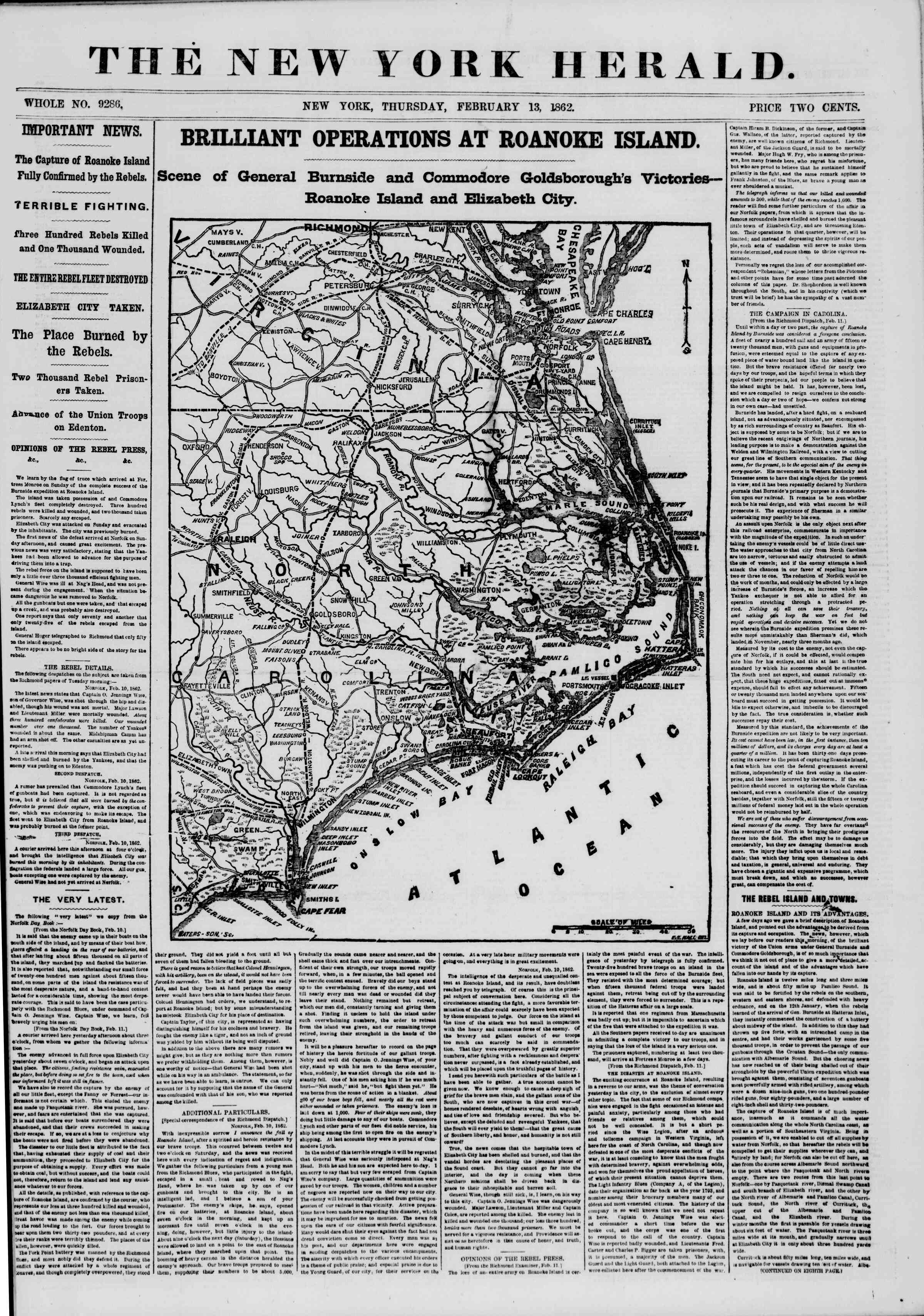 Newspaper of The New York Herald dated February 13, 1862 Page 1