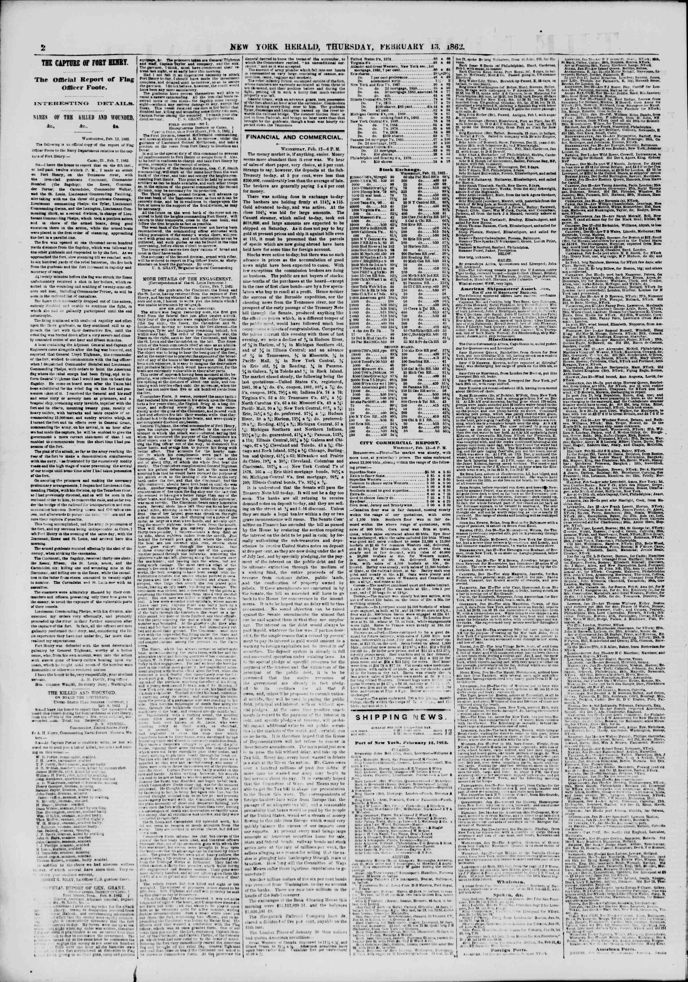 Newspaper of The New York Herald dated February 13, 1862 Page 2