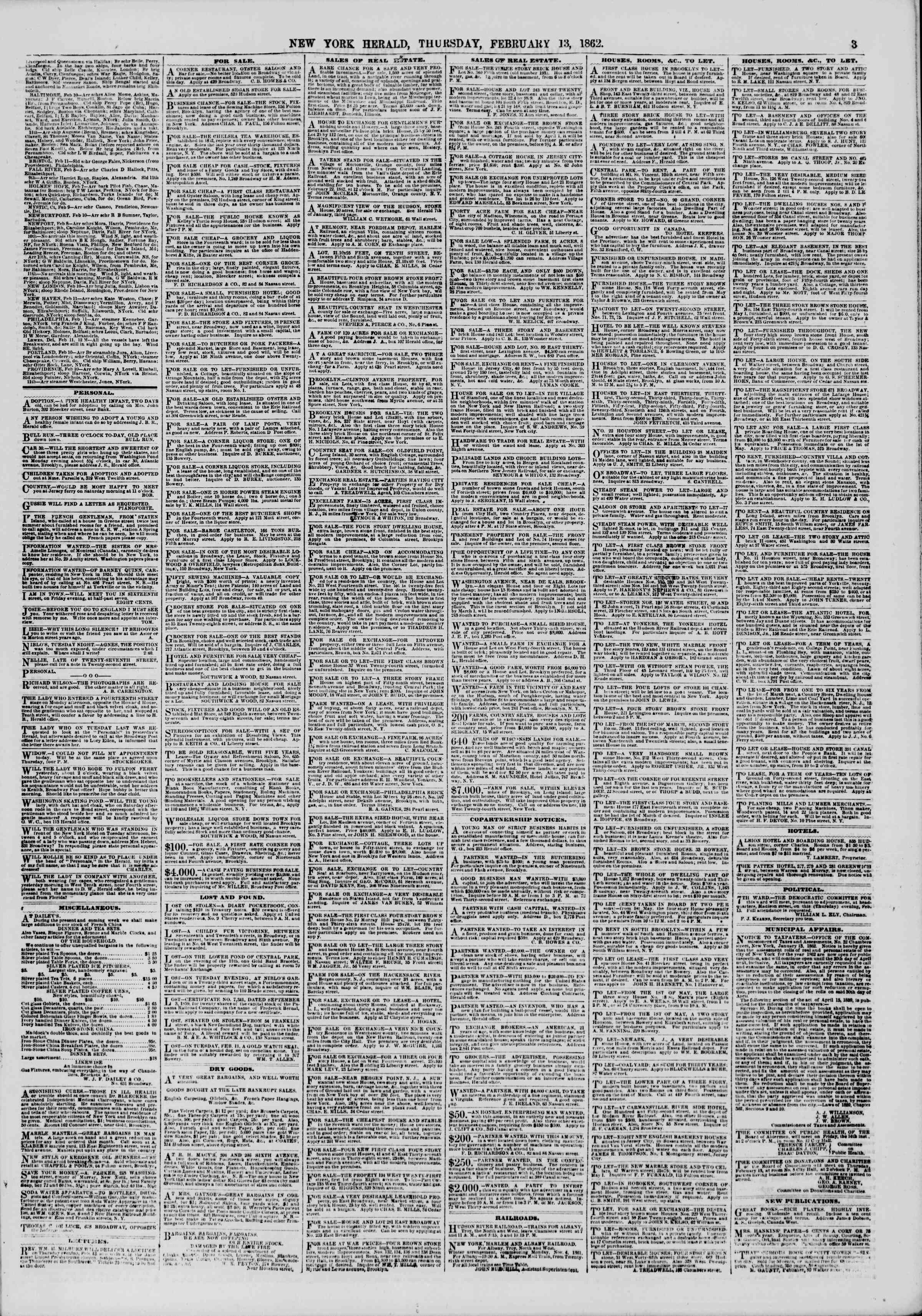 Newspaper of The New York Herald dated February 13, 1862 Page 3