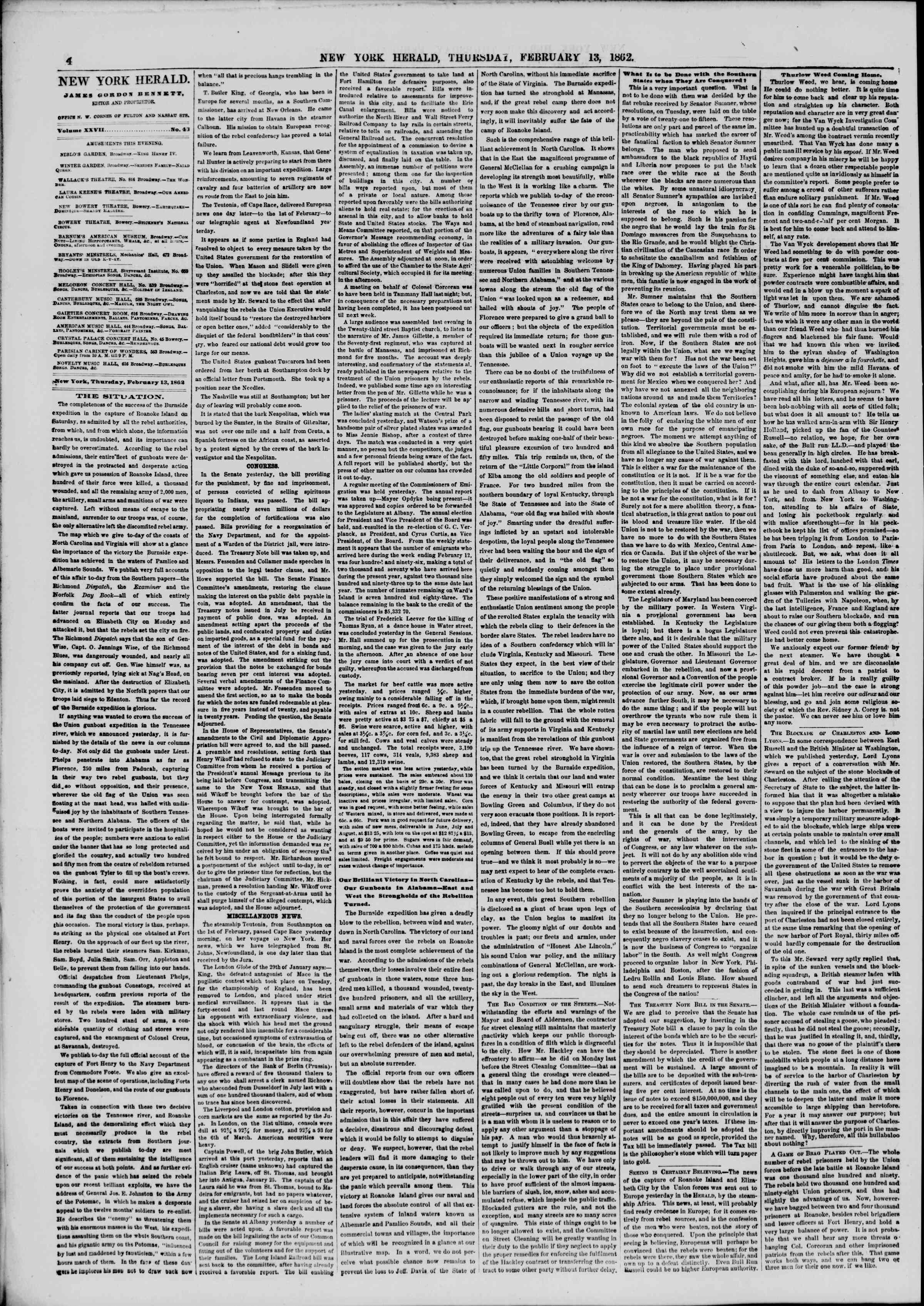 Newspaper of The New York Herald dated February 13, 1862 Page 4