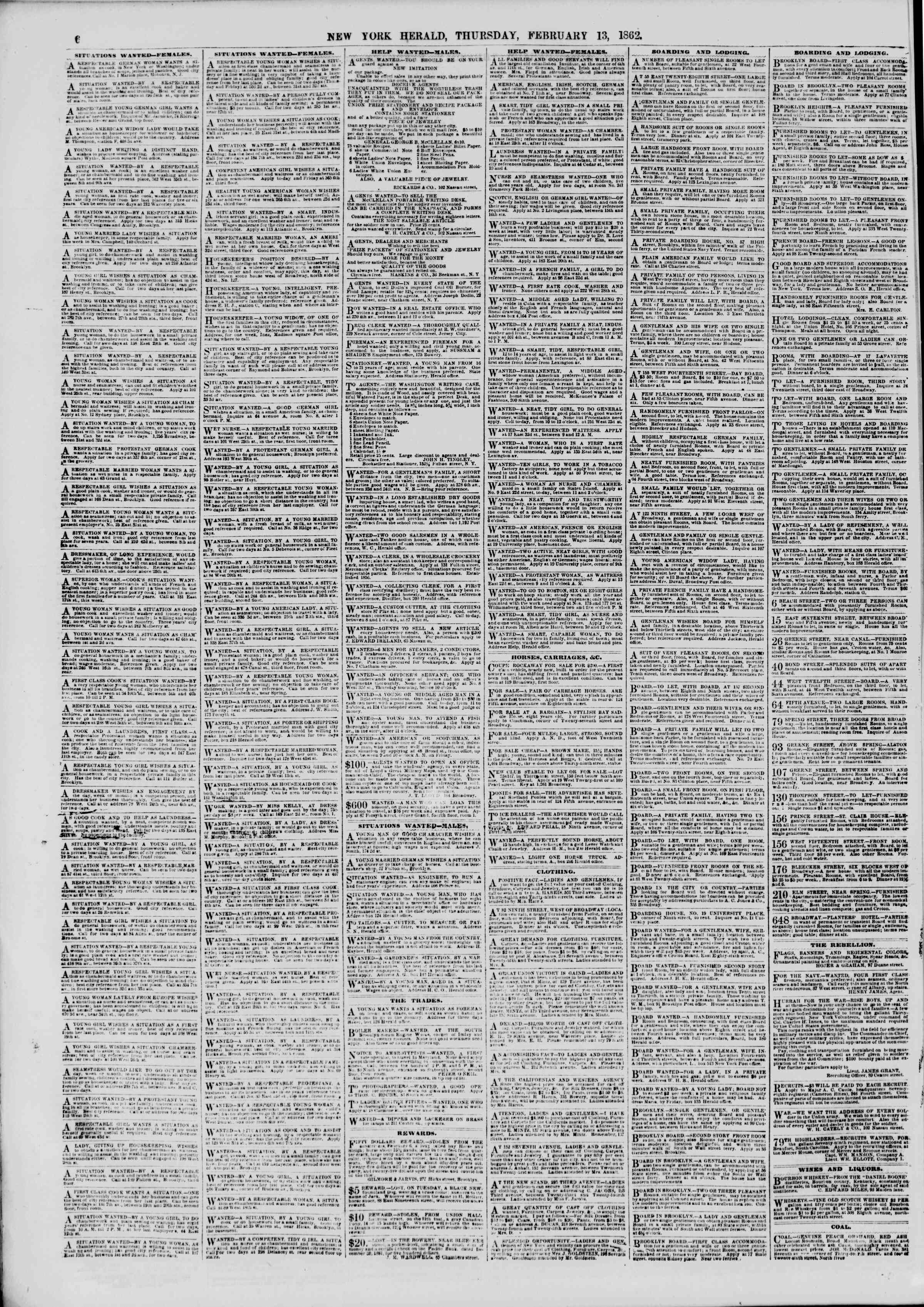Newspaper of The New York Herald dated February 13, 1862 Page 6