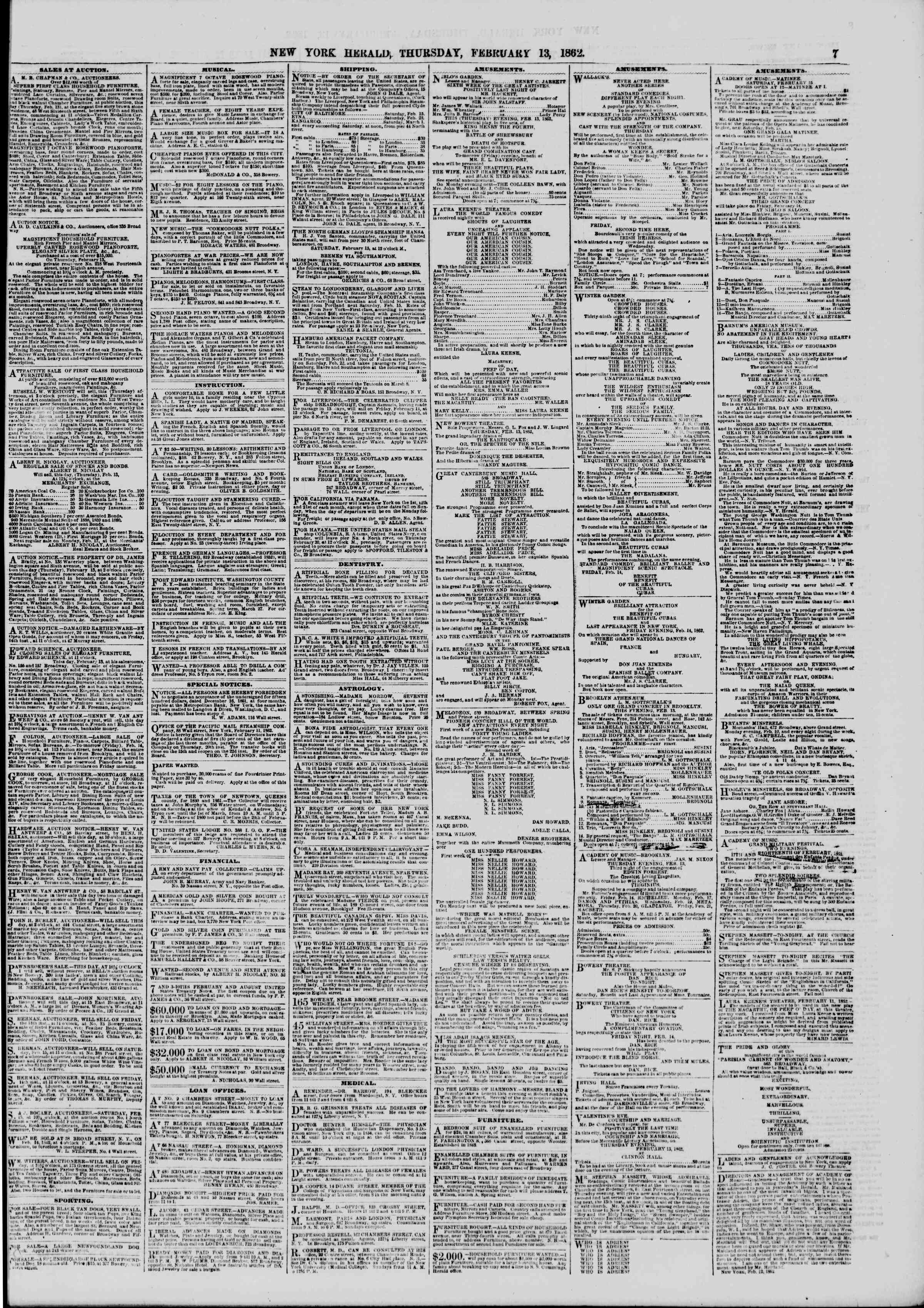 Newspaper of The New York Herald dated February 13, 1862 Page 7