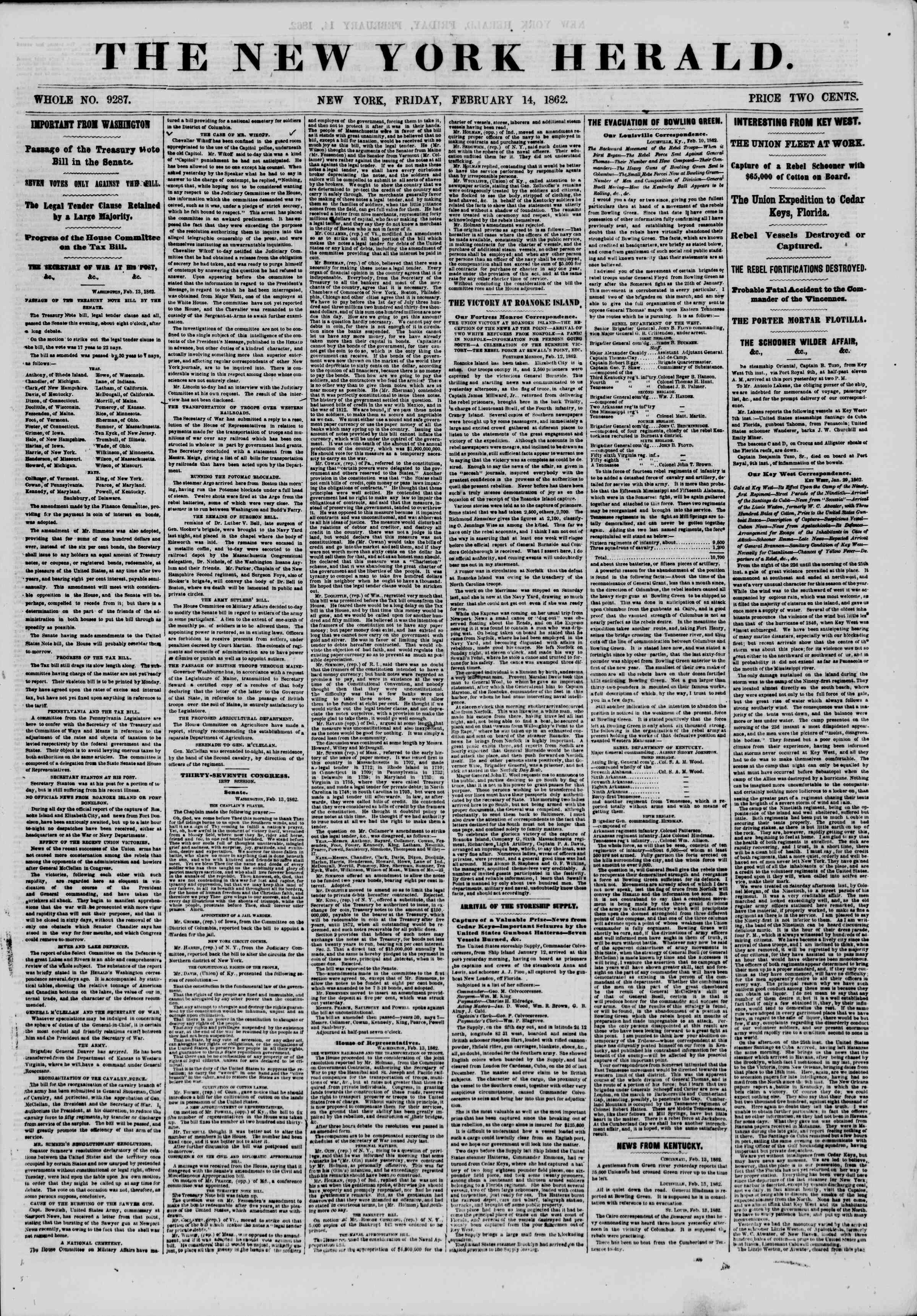 Newspaper of The New York Herald dated February 14, 1862 Page 1