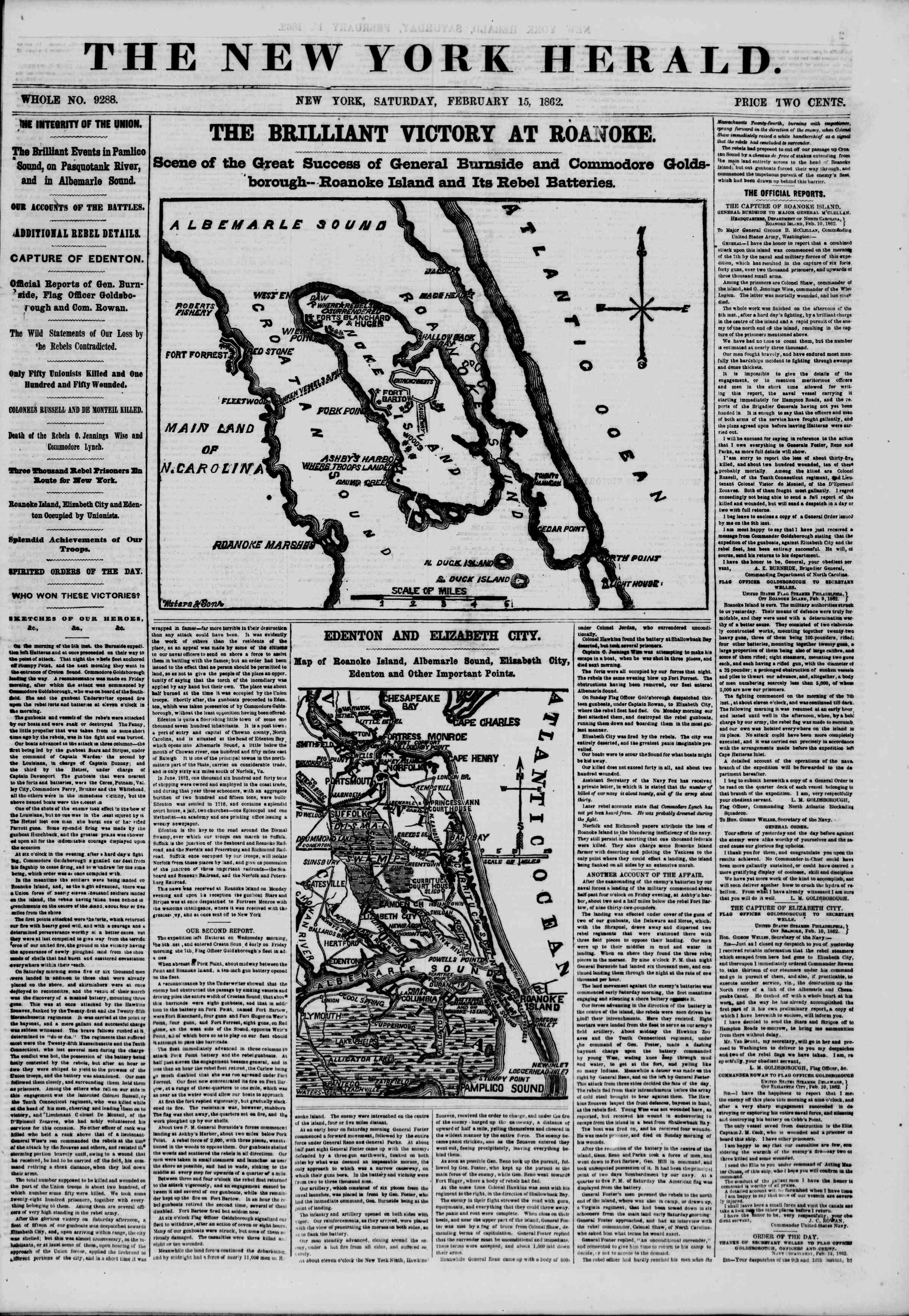 Newspaper of The New York Herald dated February 15, 1862 Page 1