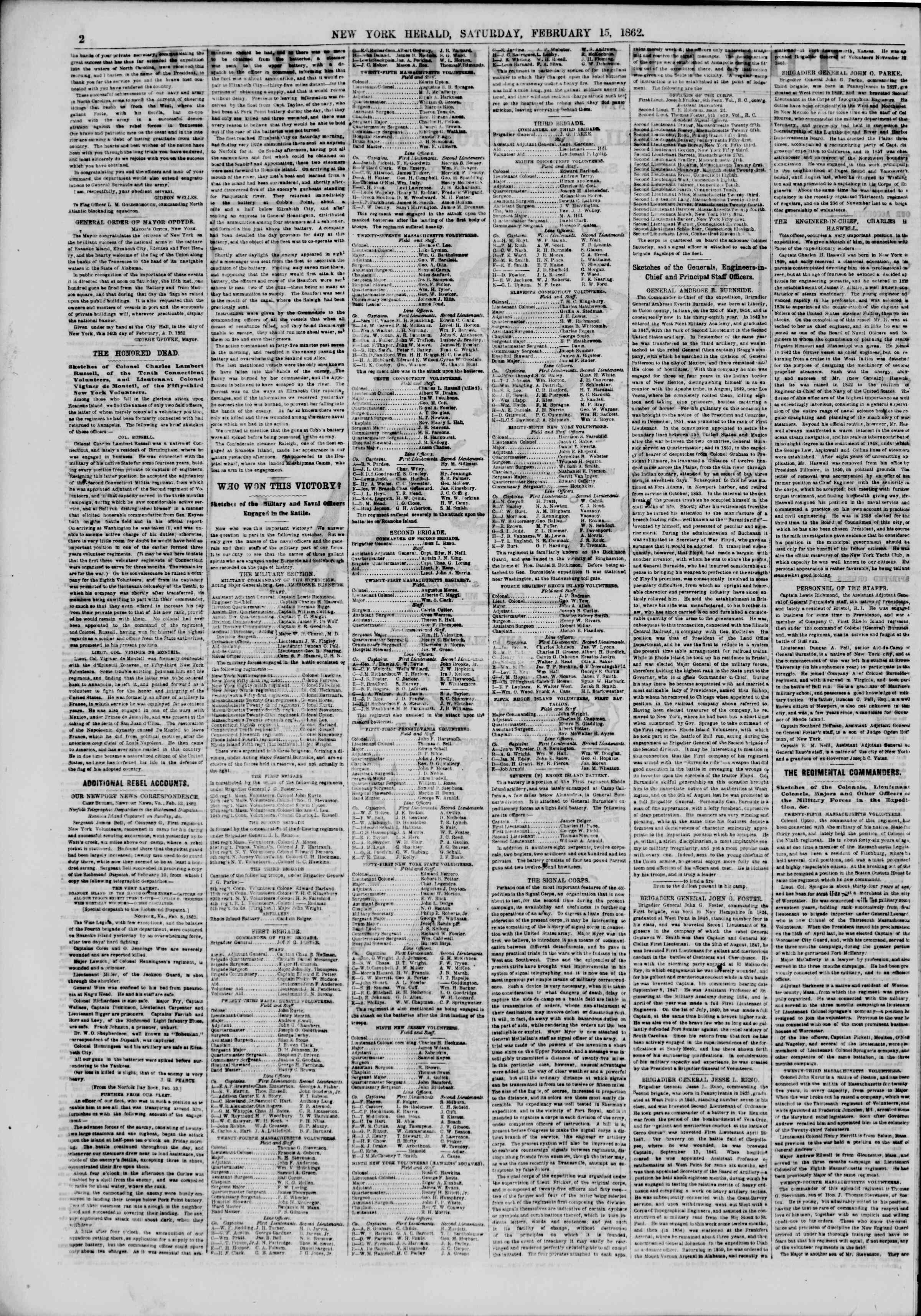 Newspaper of The New York Herald dated February 15, 1862 Page 2