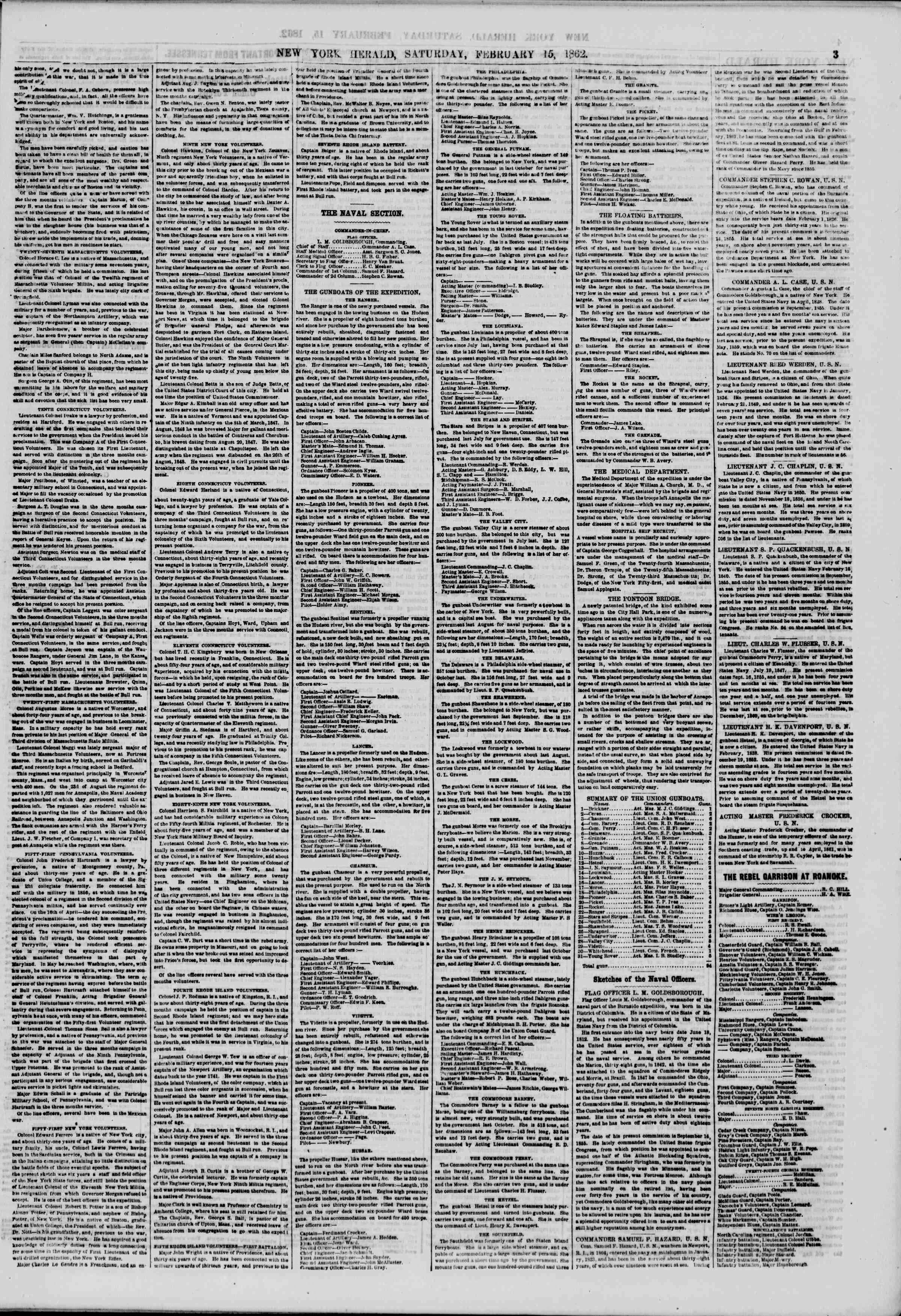 Newspaper of The New York Herald dated February 15, 1862 Page 3