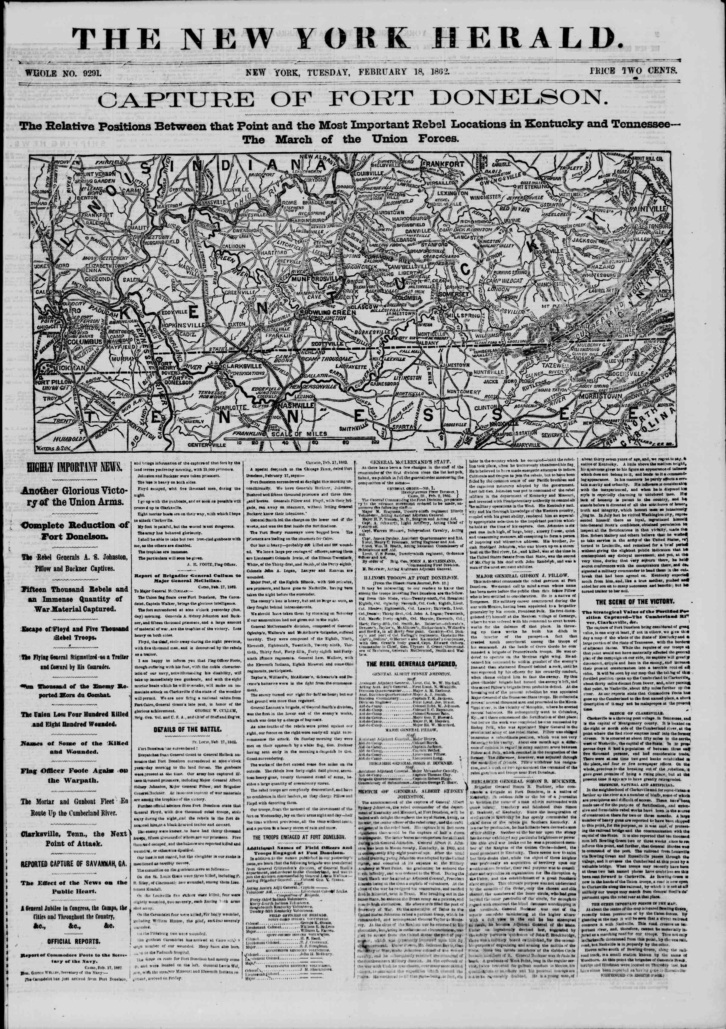Newspaper of The New York Herald dated February 18, 1862 Page 1