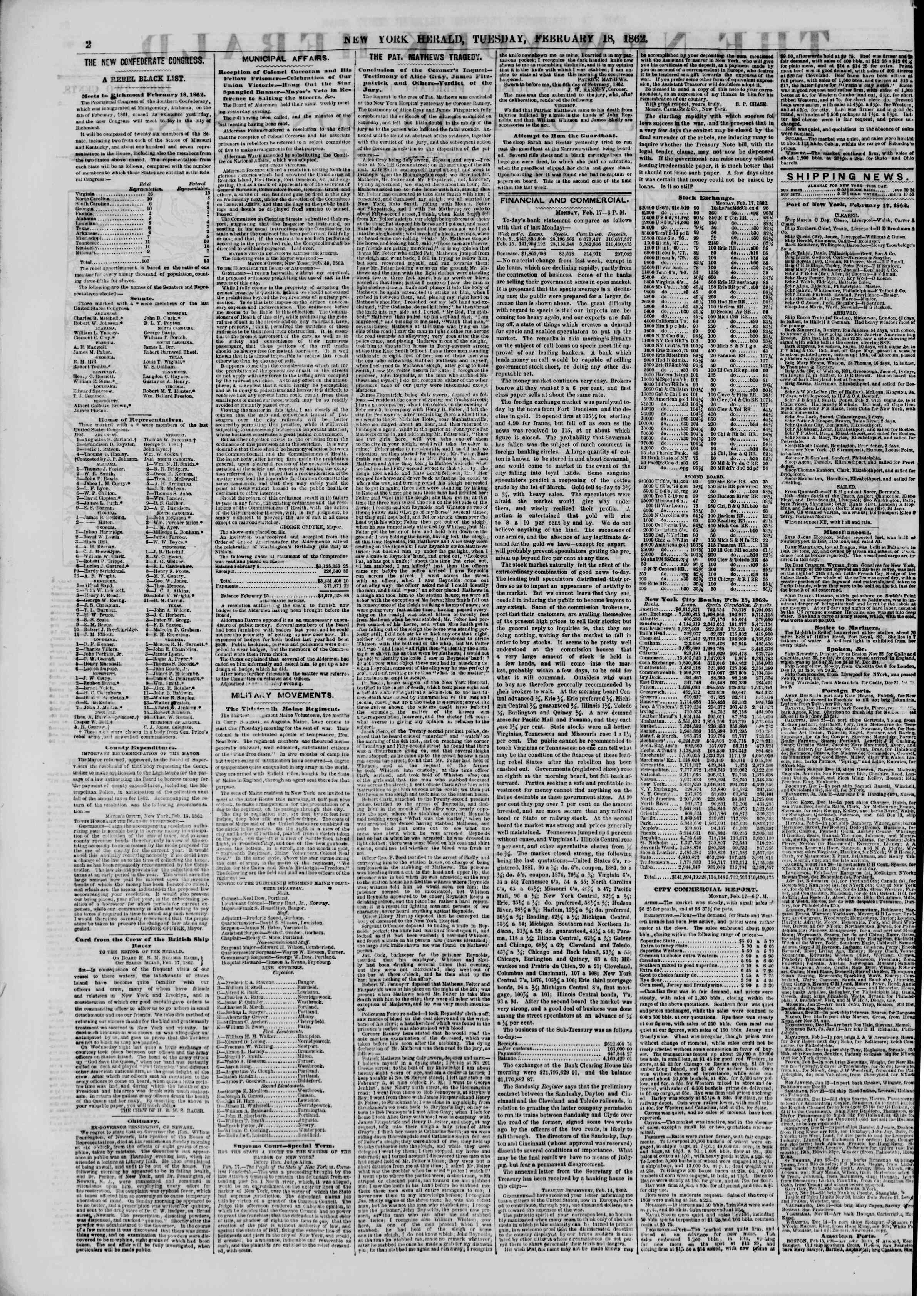 Newspaper of The New York Herald dated February 18, 1862 Page 2