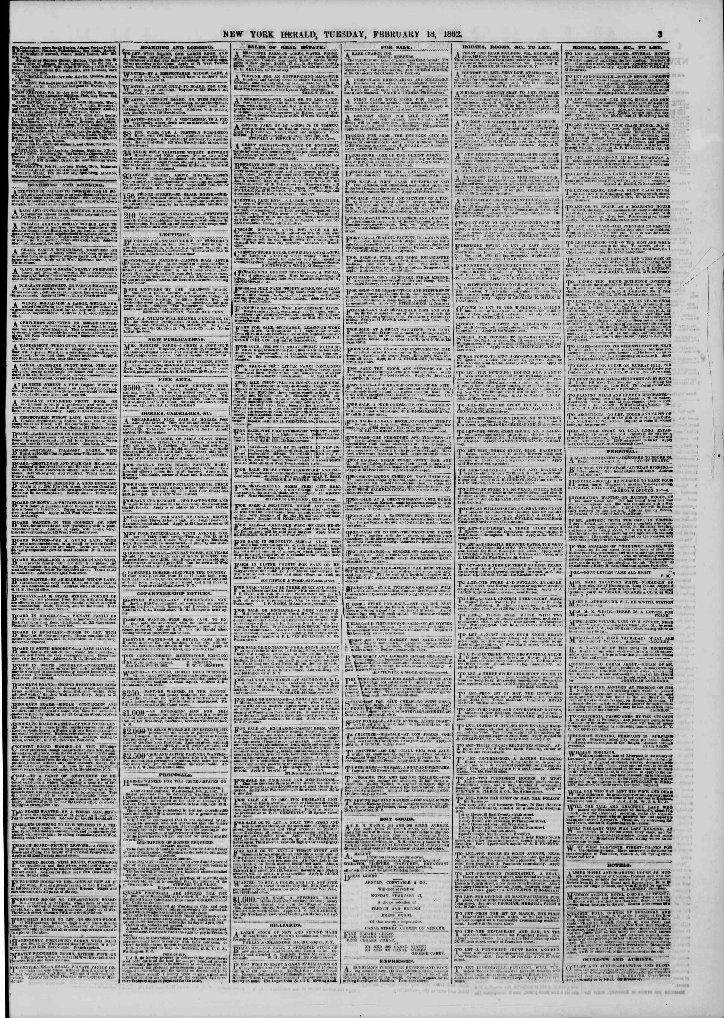 Newspaper of The New York Herald dated February 18, 1862 Page 3