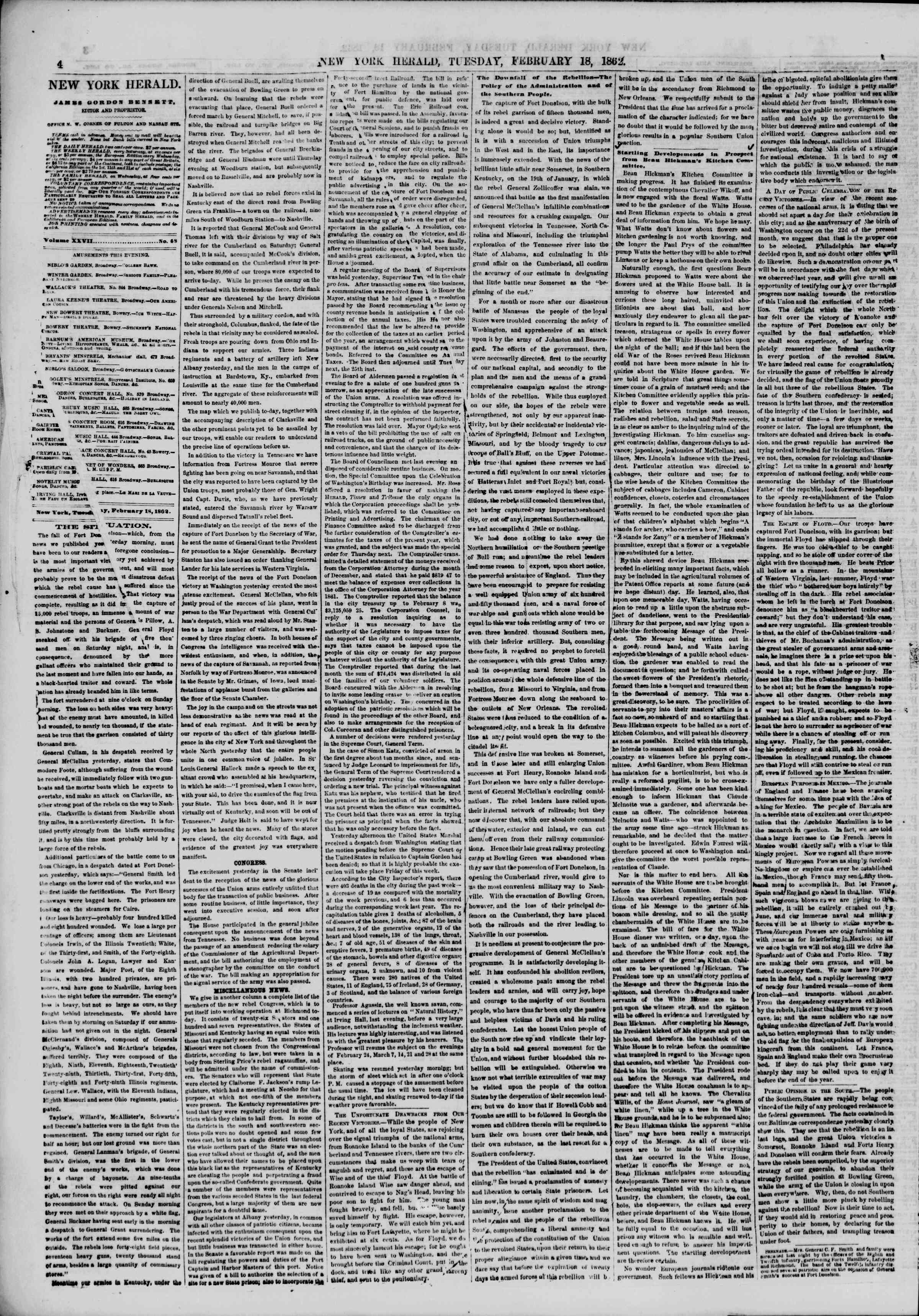 Newspaper of The New York Herald dated February 18, 1862 Page 4