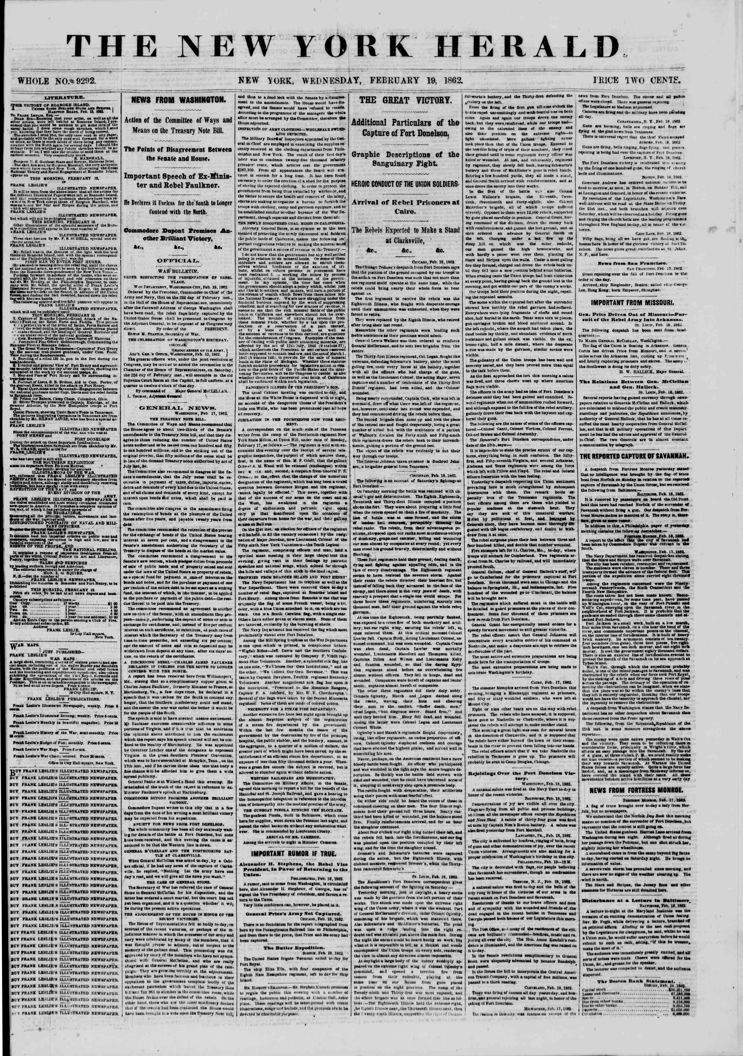 Newspaper of The New York Herald dated February 19, 1862 Page 1