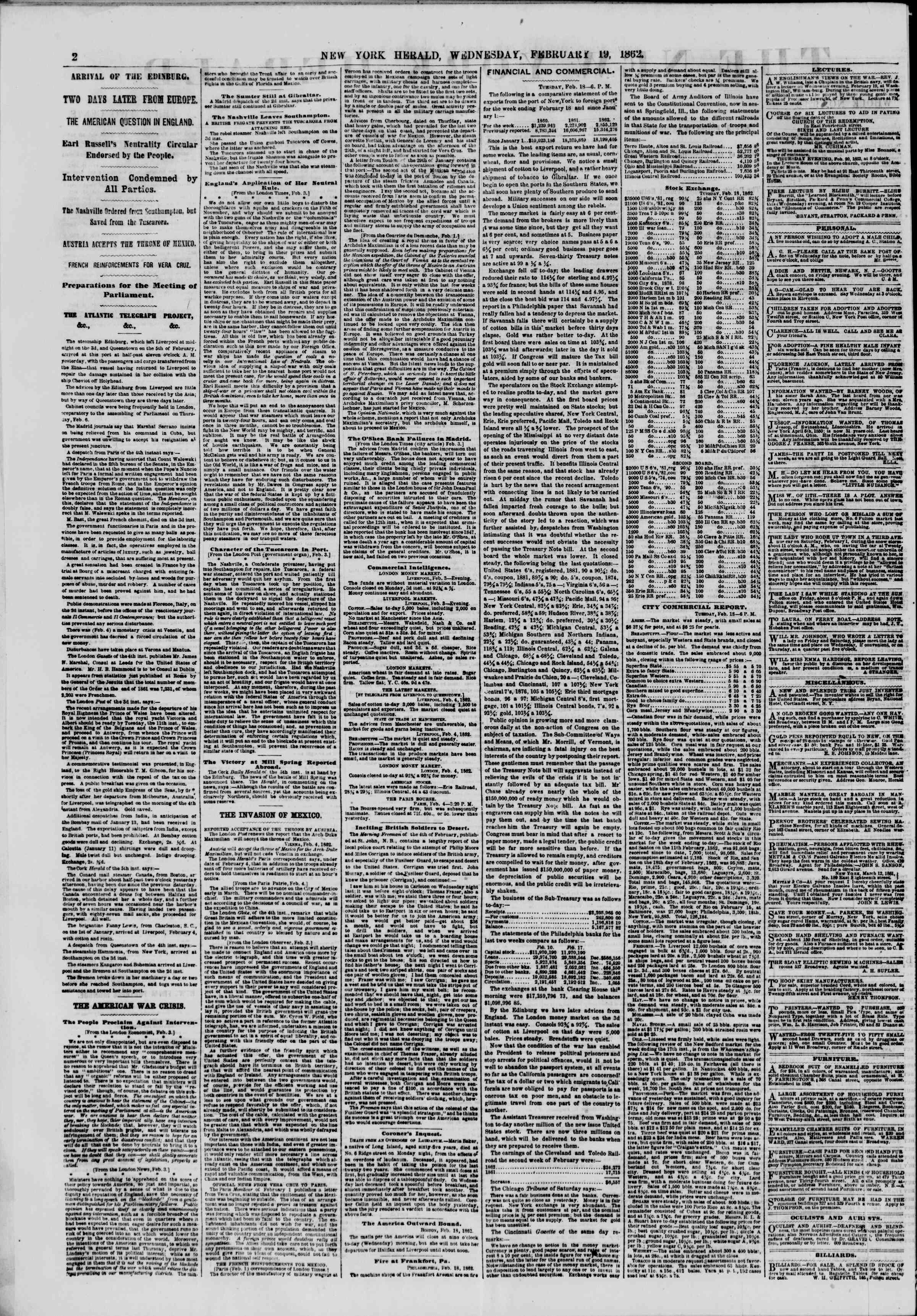 Newspaper of The New York Herald dated February 19, 1862 Page 2