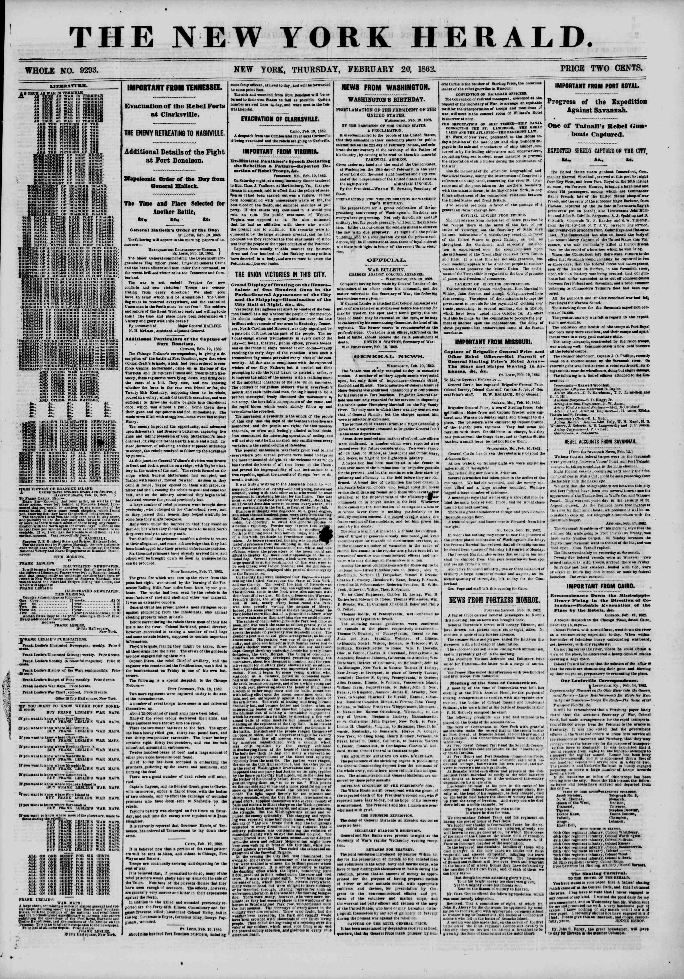 Newspaper of The New York Herald dated February 20, 1862 Page 1