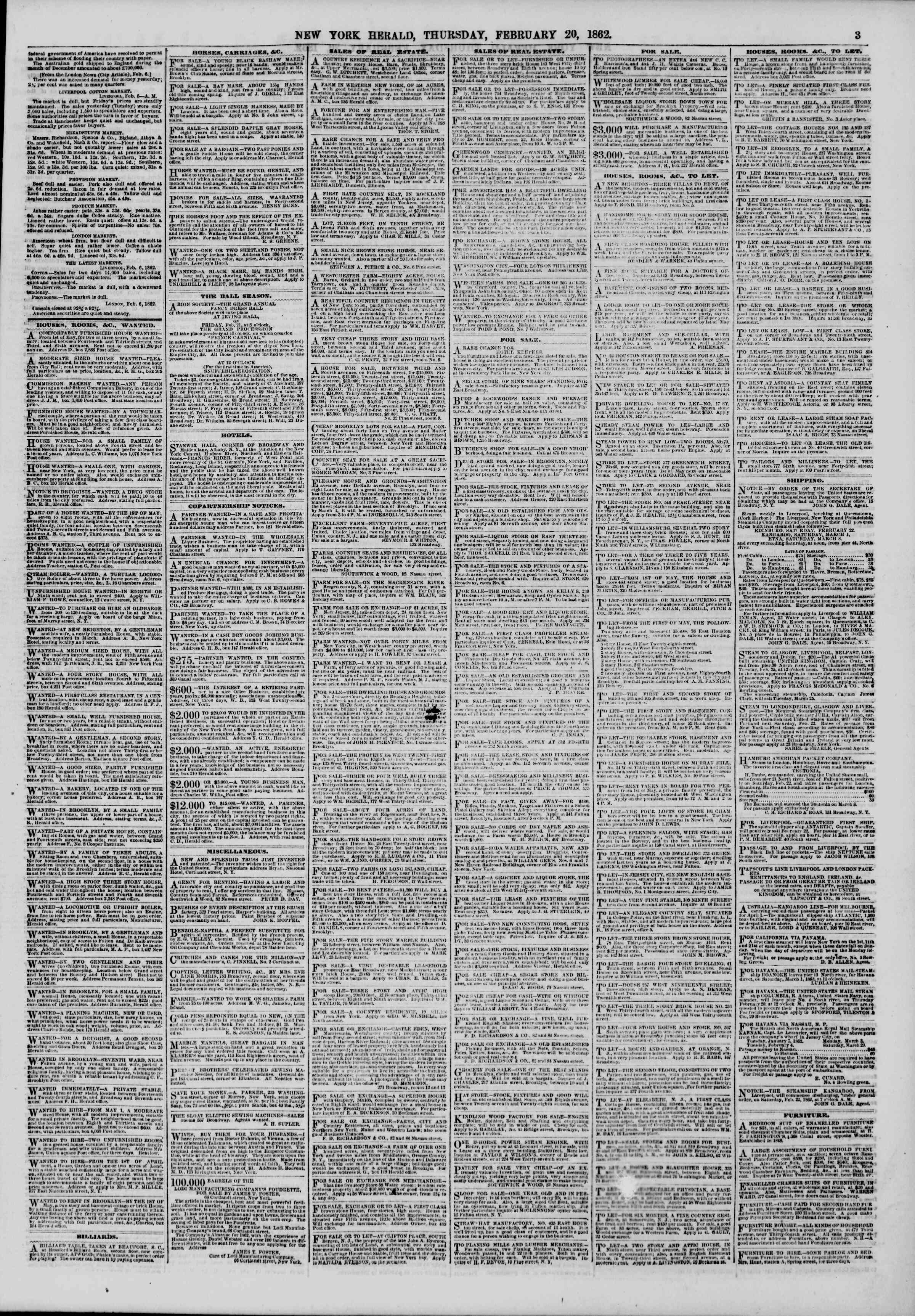 Newspaper of The New York Herald dated February 20, 1862 Page 3