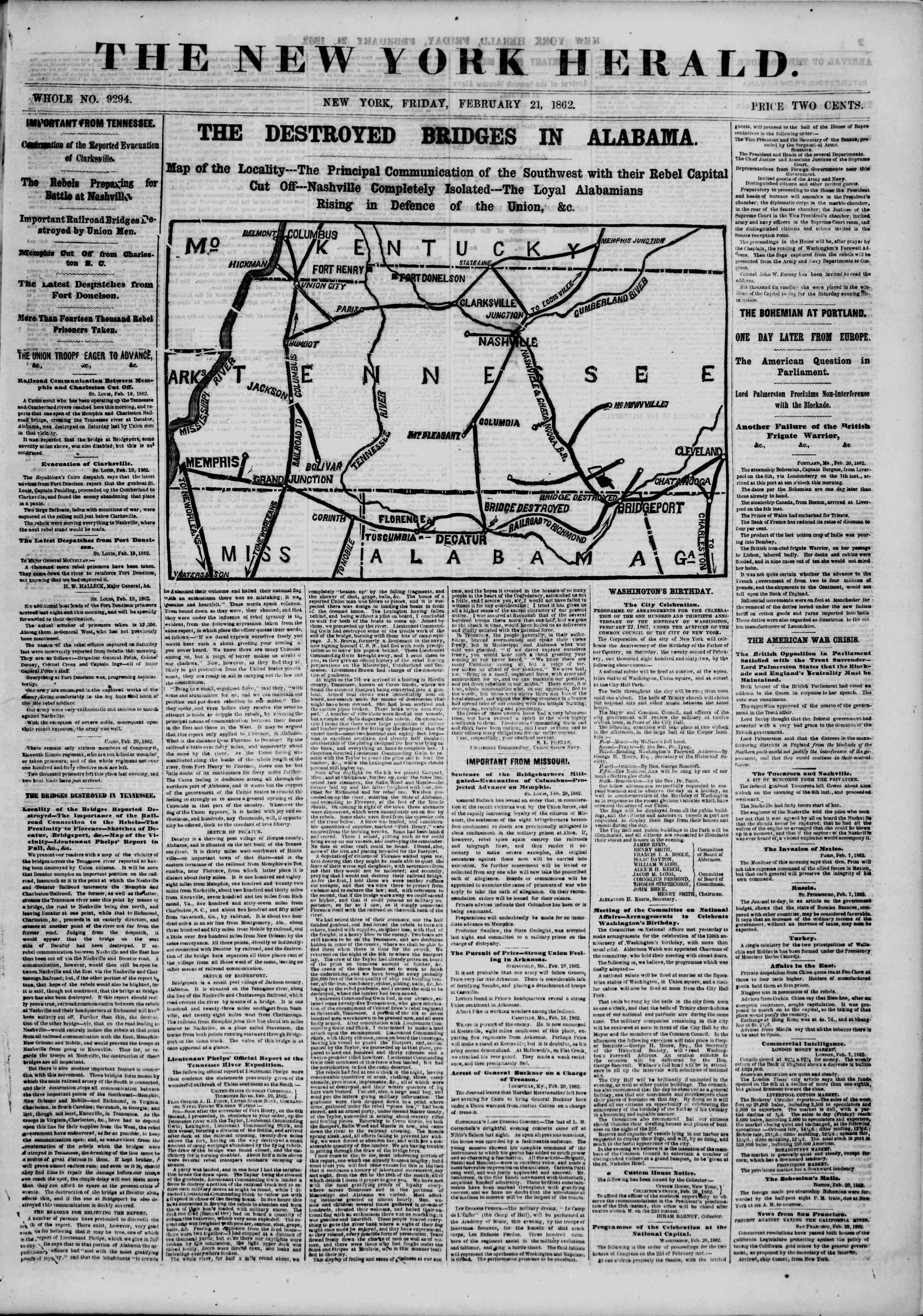 Newspaper of The New York Herald dated February 21, 1862 Page 1