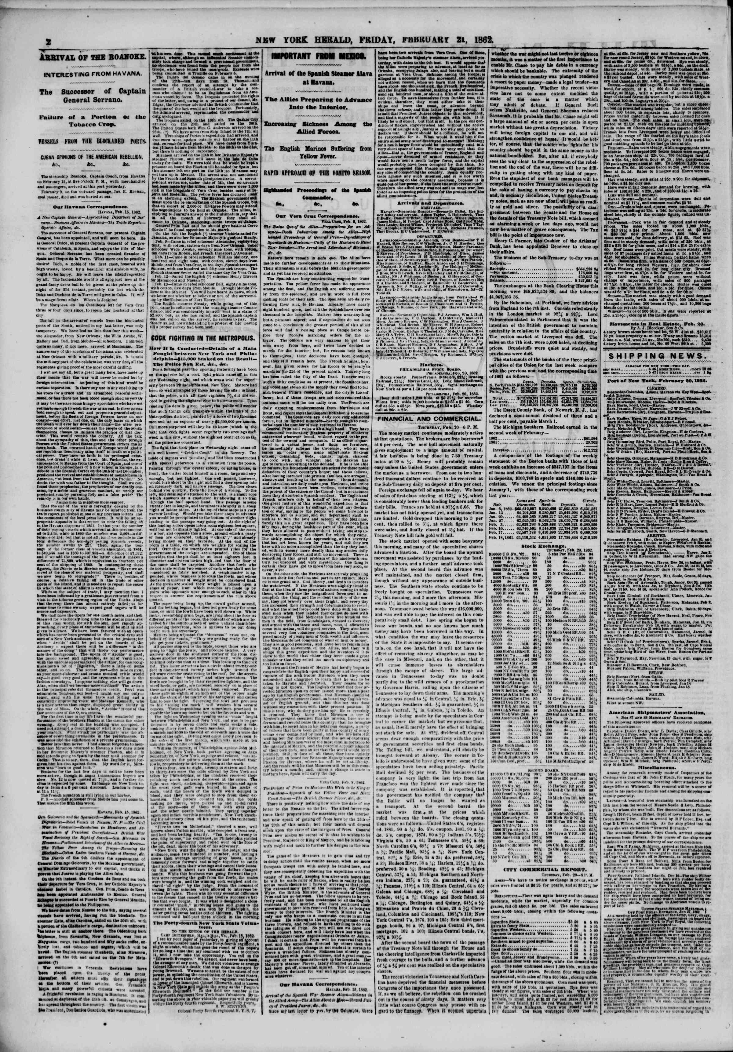 Newspaper of The New York Herald dated February 21, 1862 Page 2