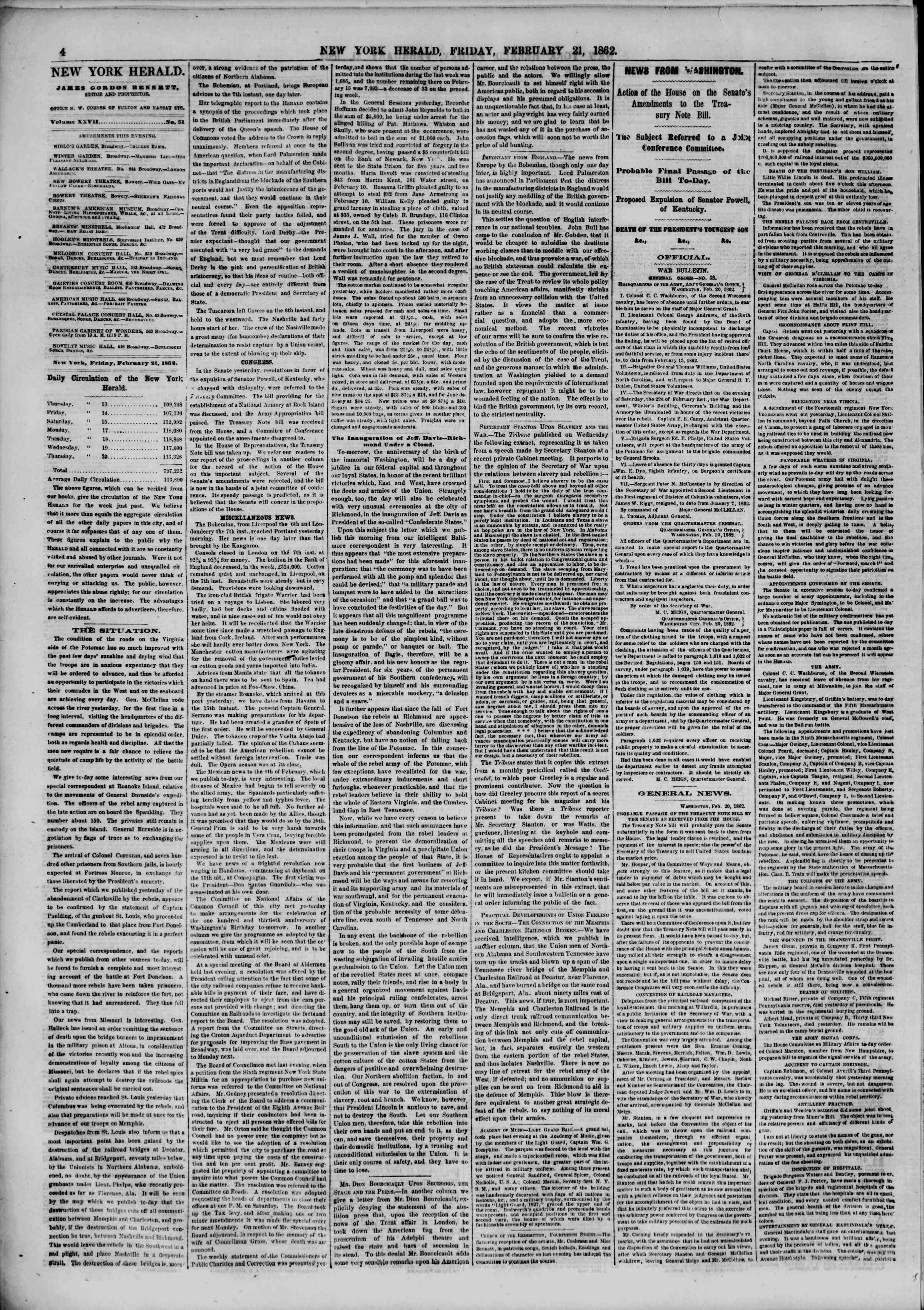 Newspaper of The New York Herald dated February 21, 1862 Page 4