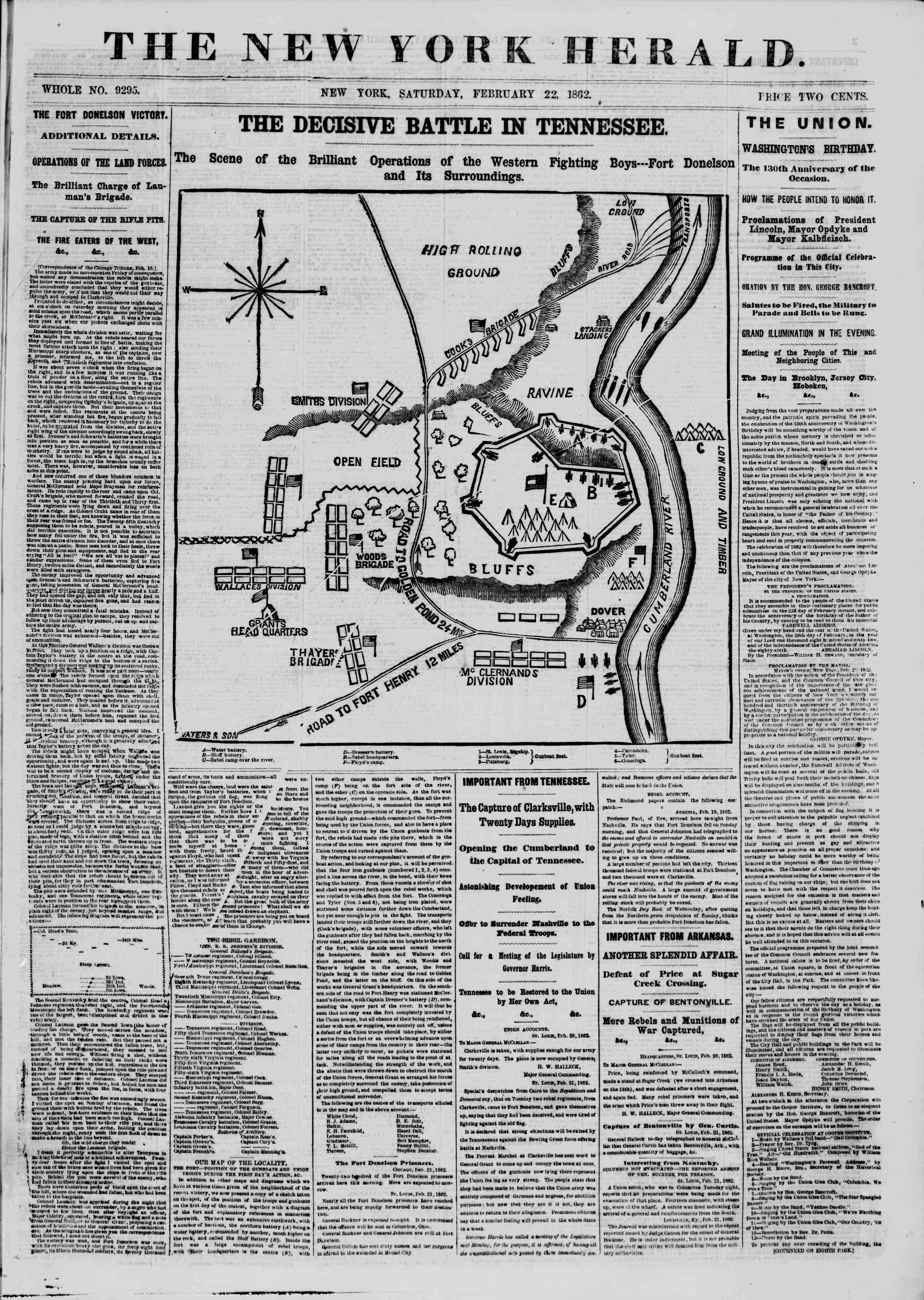 Newspaper of The New York Herald dated February 22, 1862 Page 1