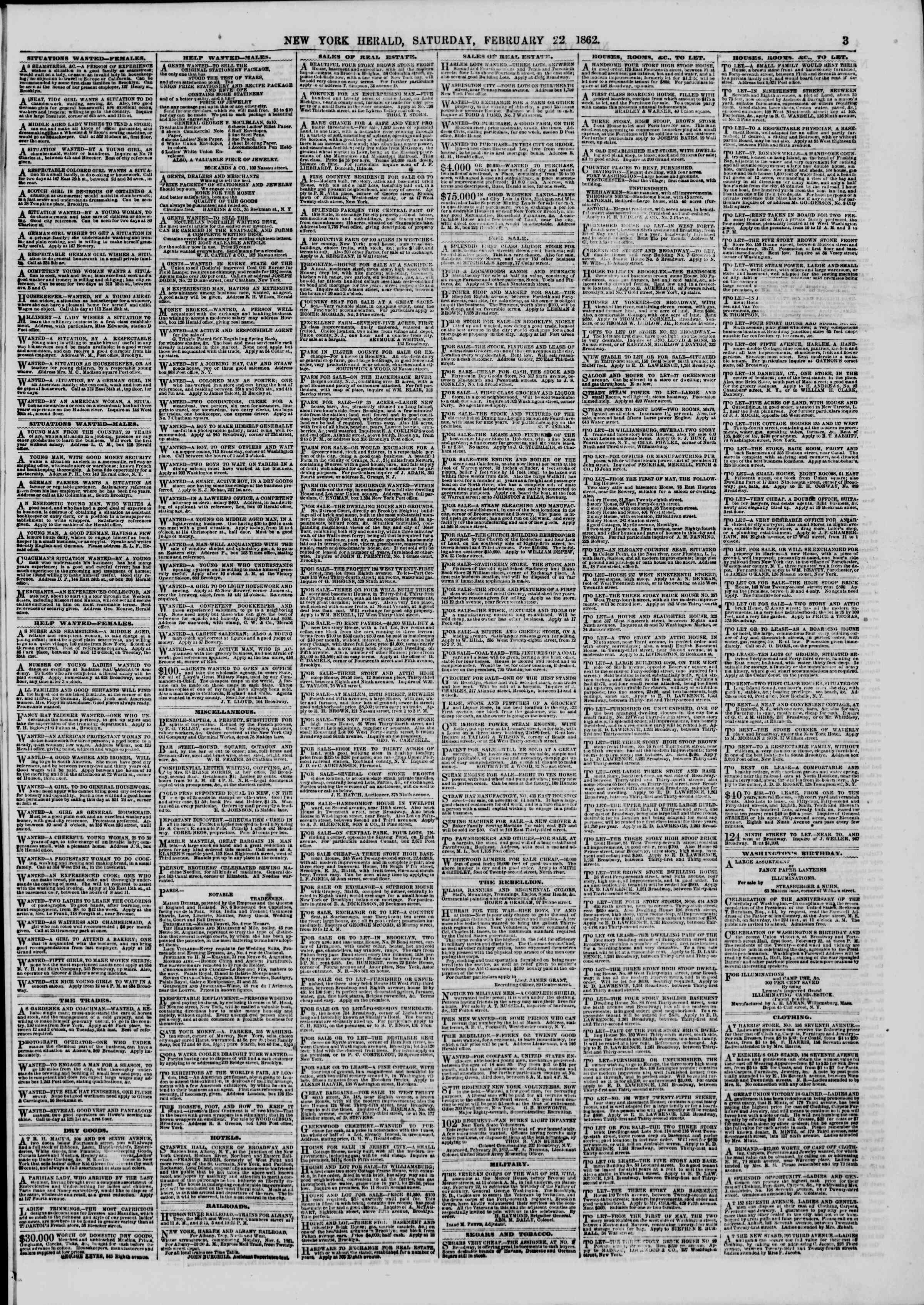 Newspaper of The New York Herald dated February 22, 1862 Page 3