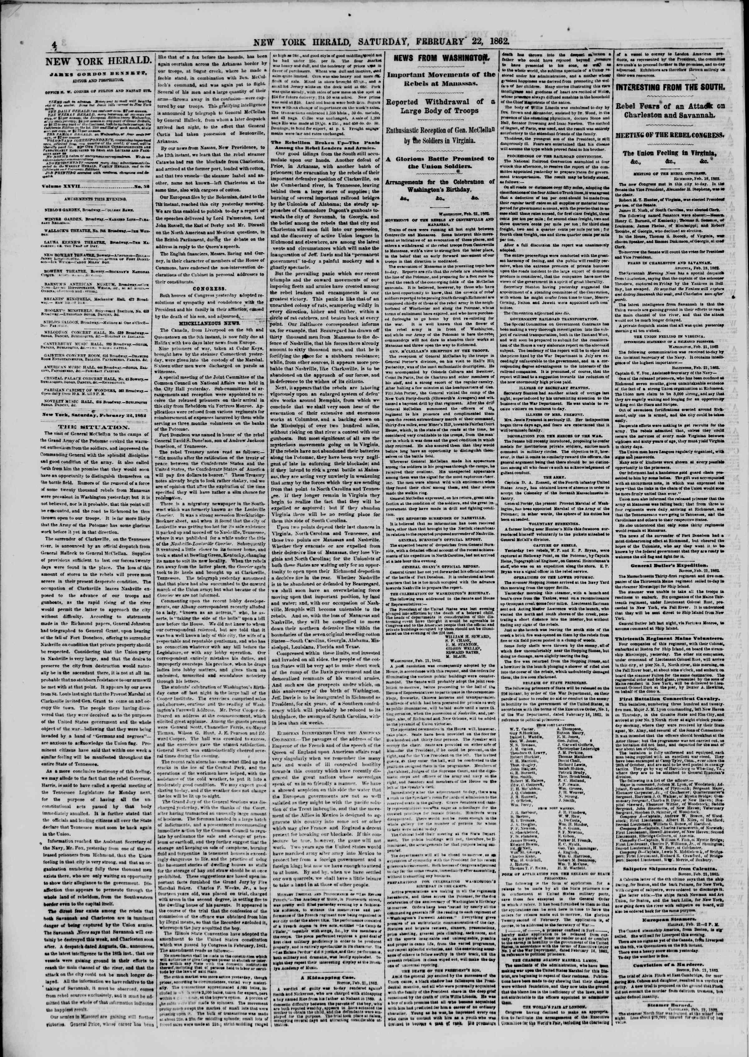 Newspaper of The New York Herald dated February 22, 1862 Page 4