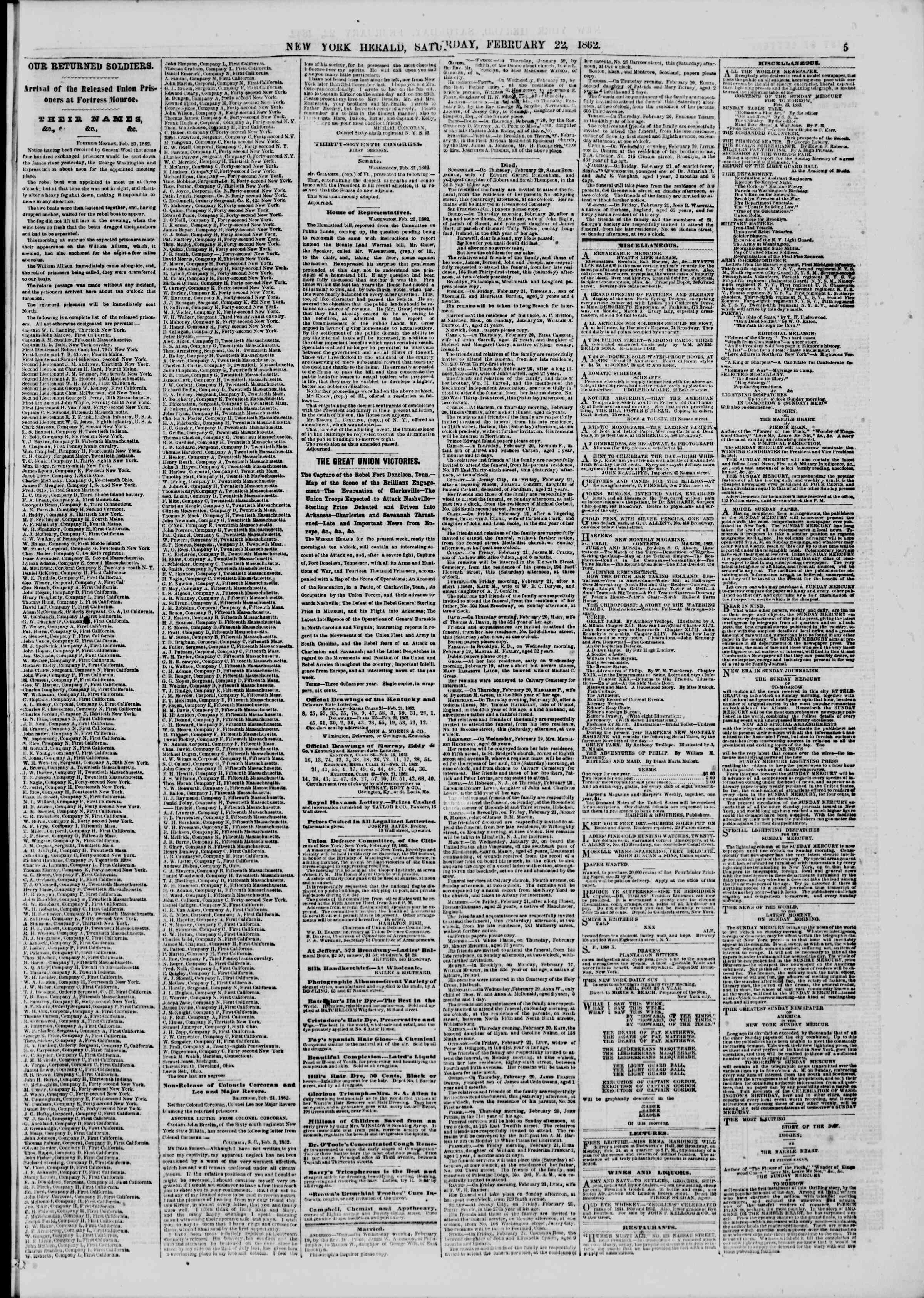 Newspaper of The New York Herald dated February 22, 1862 Page 5