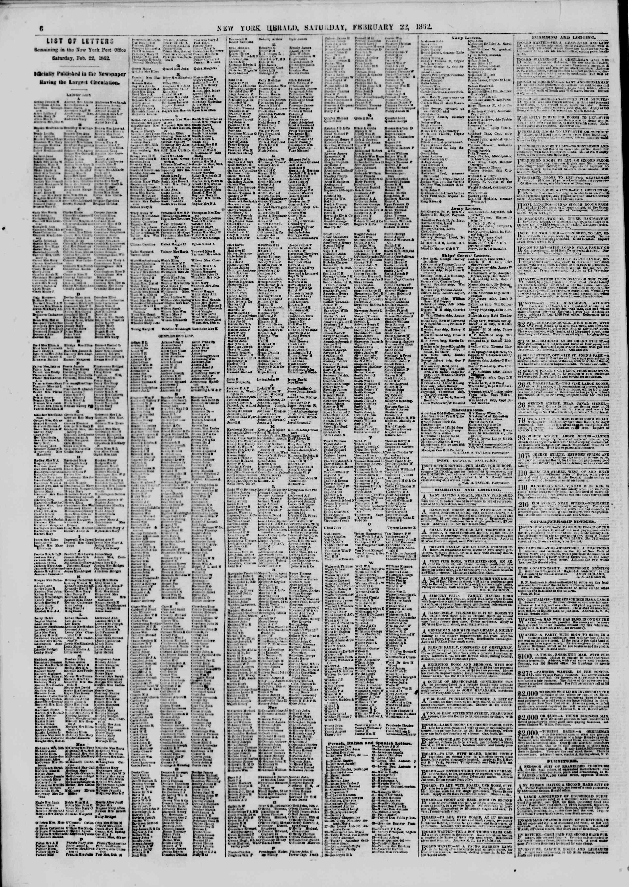 Newspaper of The New York Herald dated February 22, 1862 Page 6