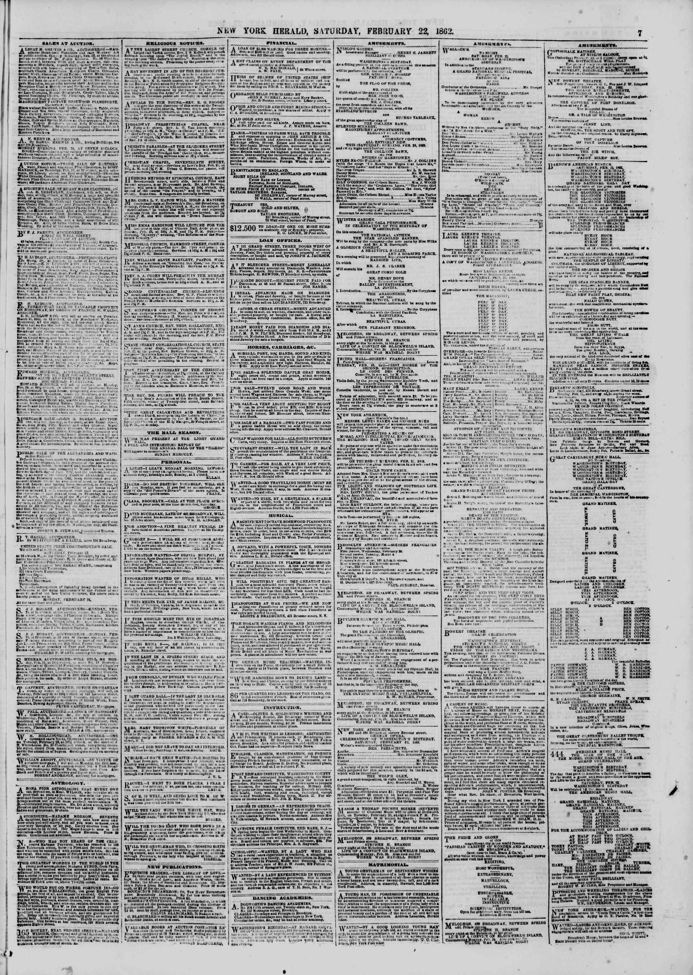 Newspaper of The New York Herald dated February 22, 1862 Page 7