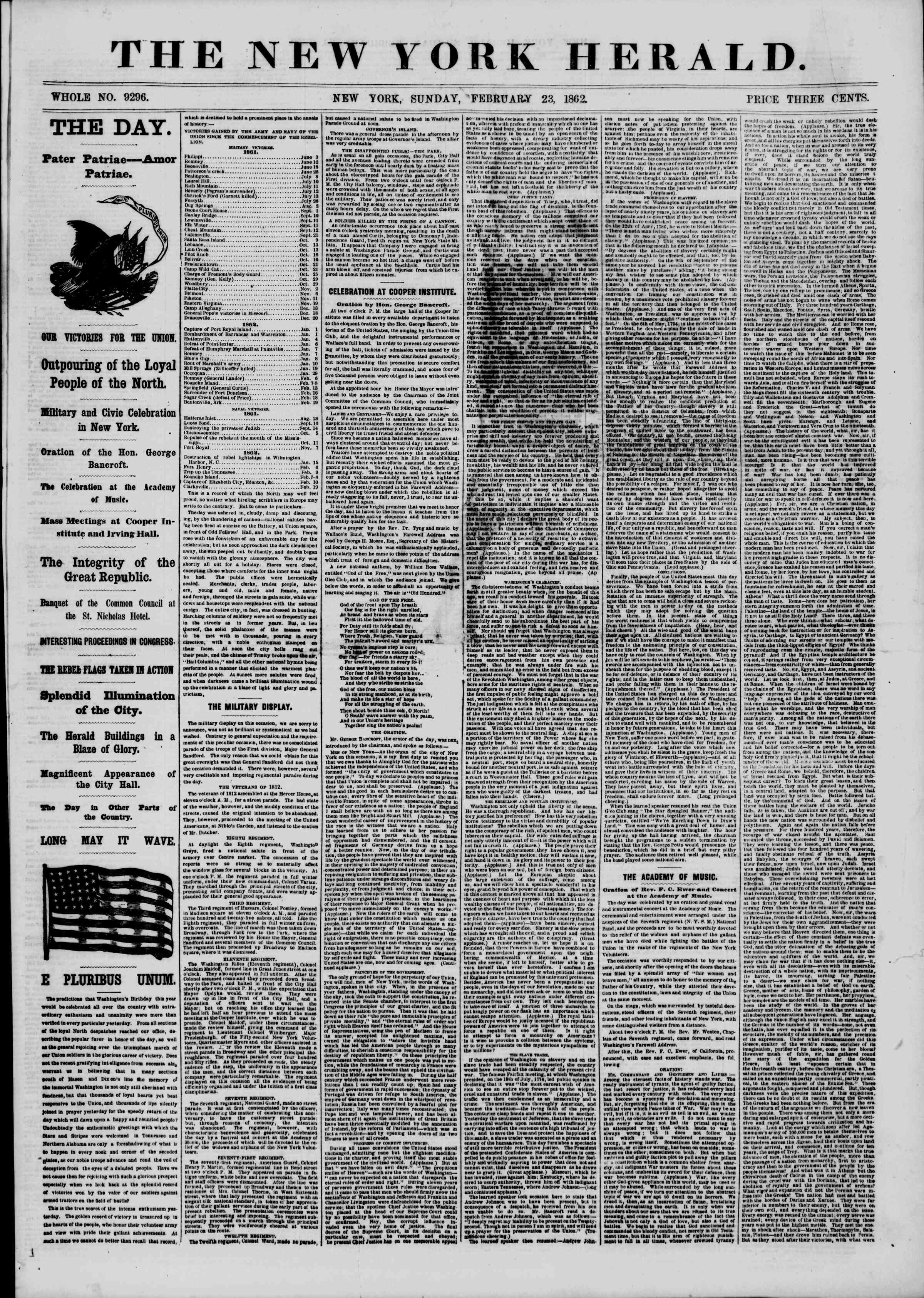 Newspaper of The New York Herald dated February 23, 1862 Page 1
