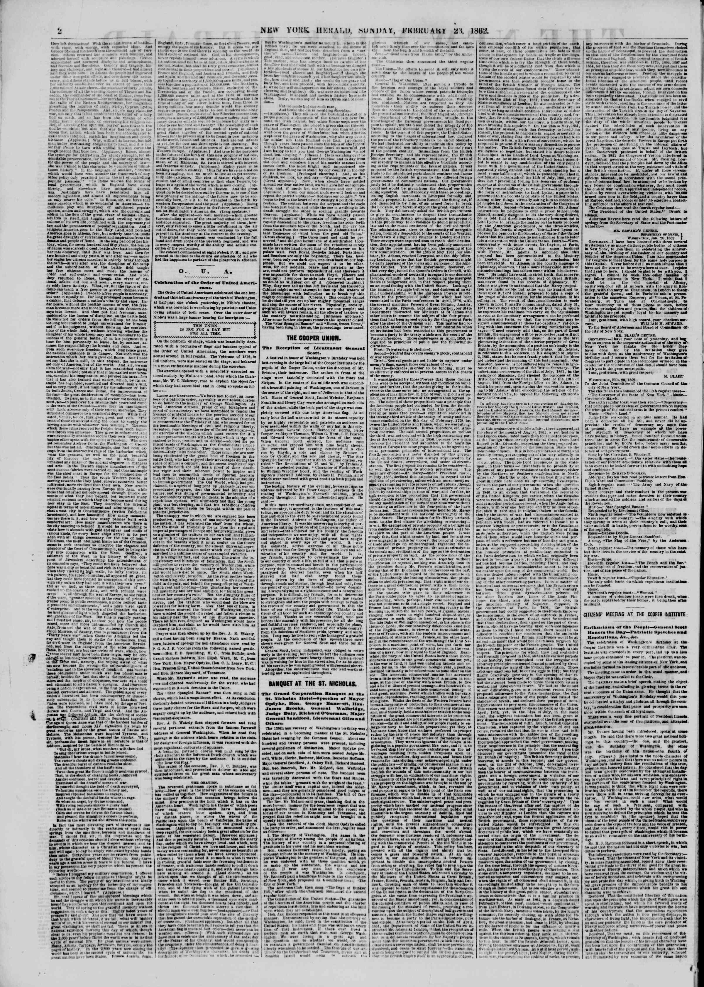 Newspaper of The New York Herald dated February 23, 1862 Page 2