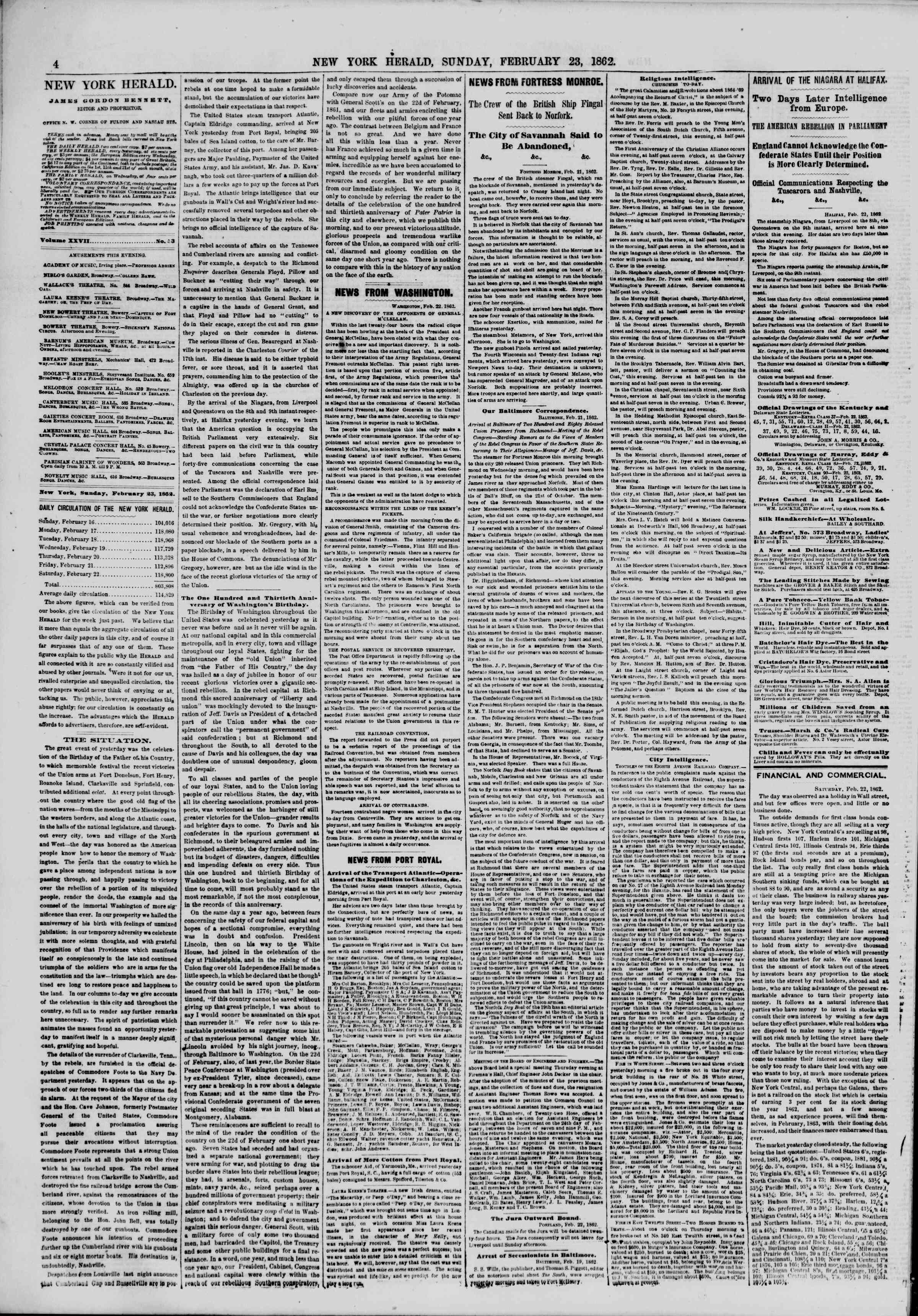 Newspaper of The New York Herald dated February 23, 1862 Page 4