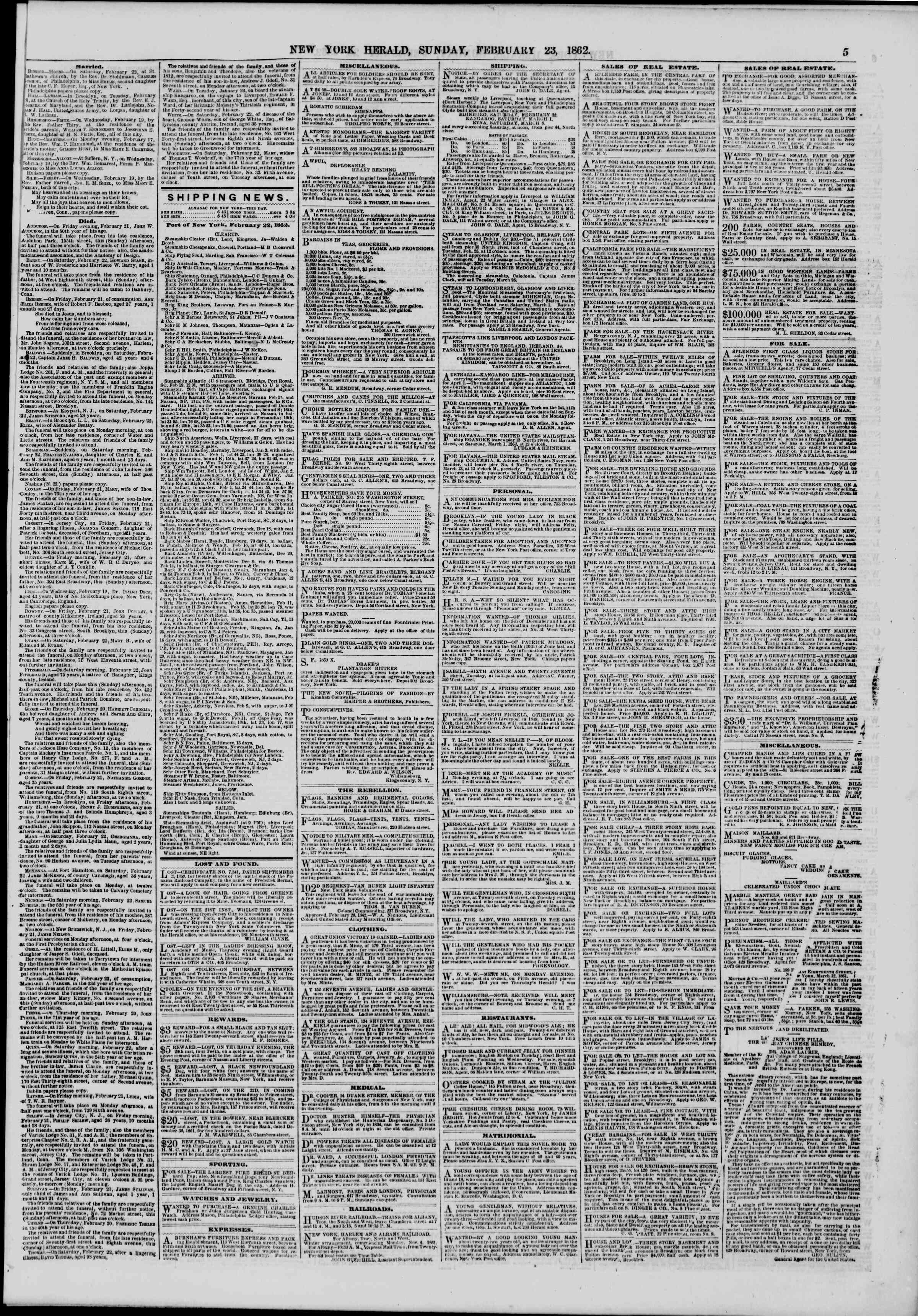 Newspaper of The New York Herald dated February 23, 1862 Page 5