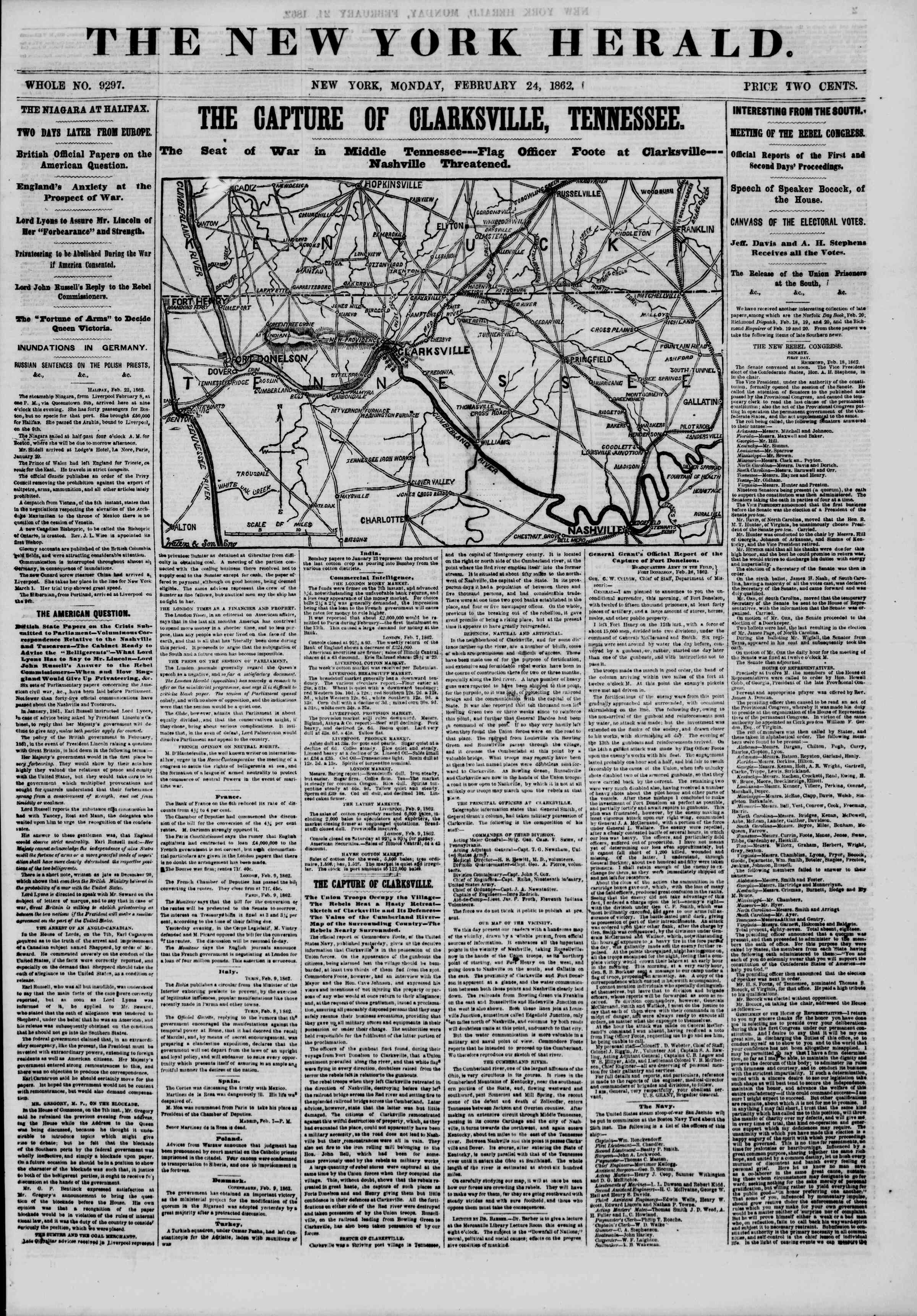 Newspaper of The New York Herald dated February 24, 1862 Page 2