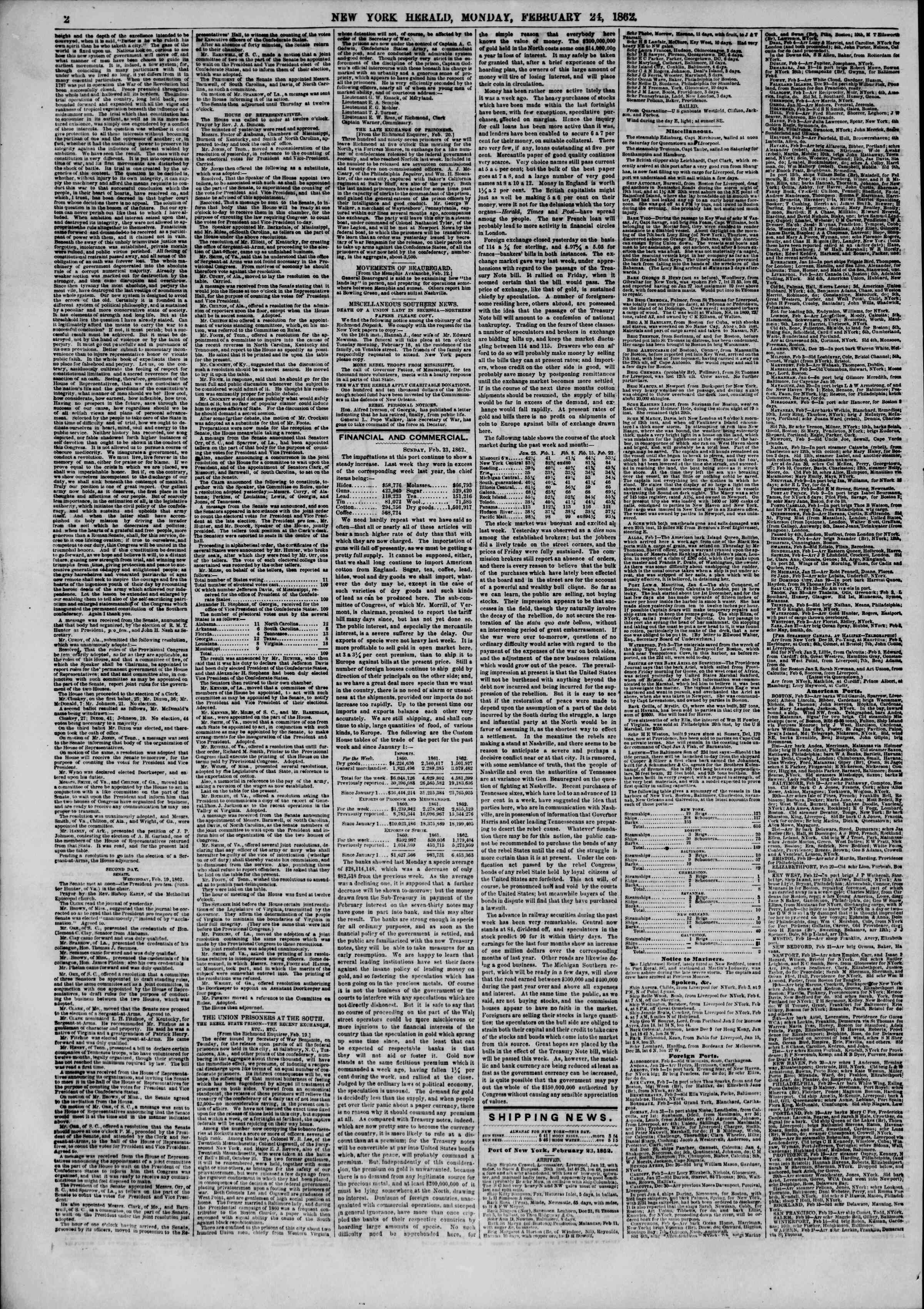 24 Şubat 1862 tarihli The New York Herald Gazetesi Sayfa 3