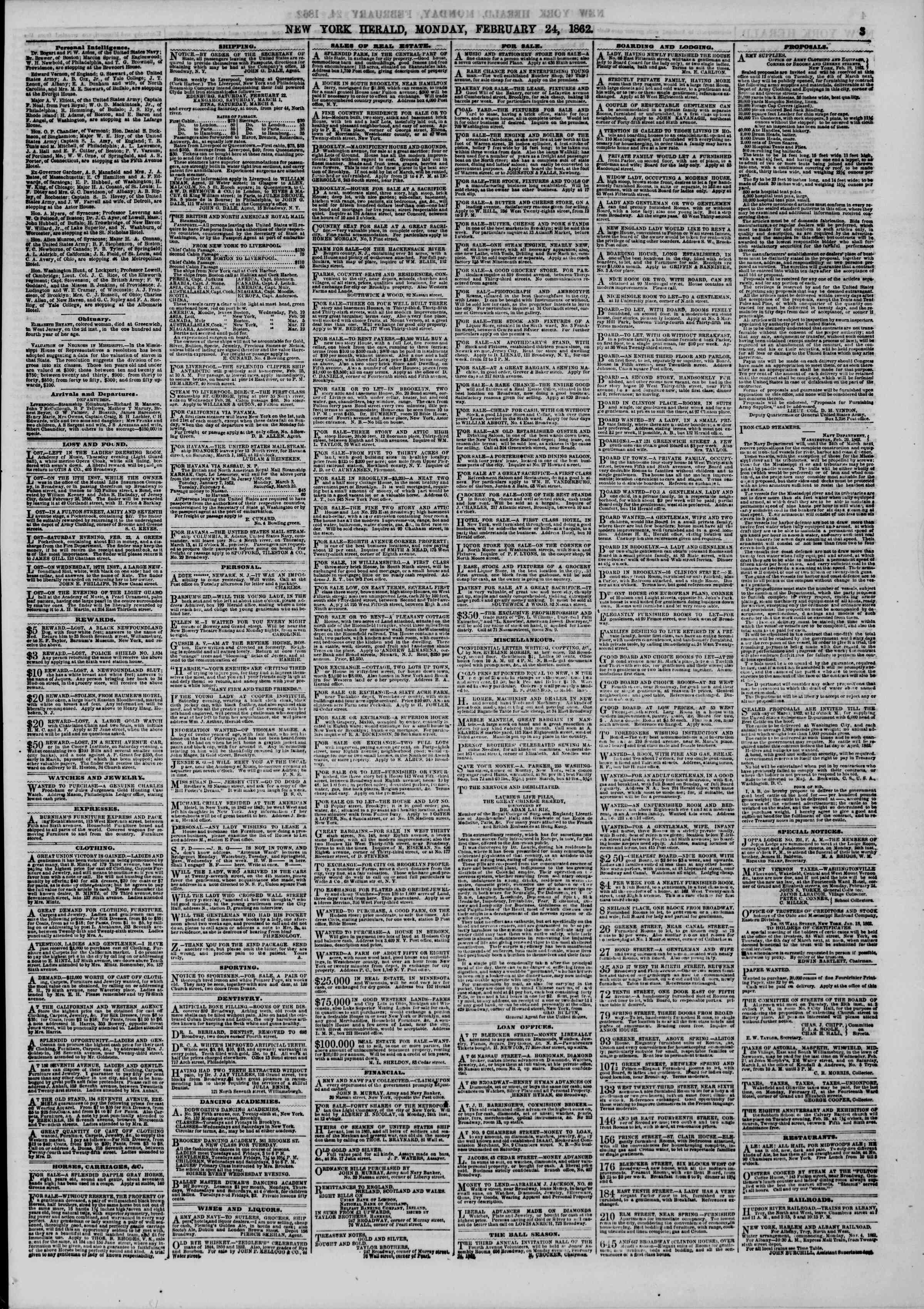 Newspaper of The New York Herald dated February 24, 1862 Page 4
