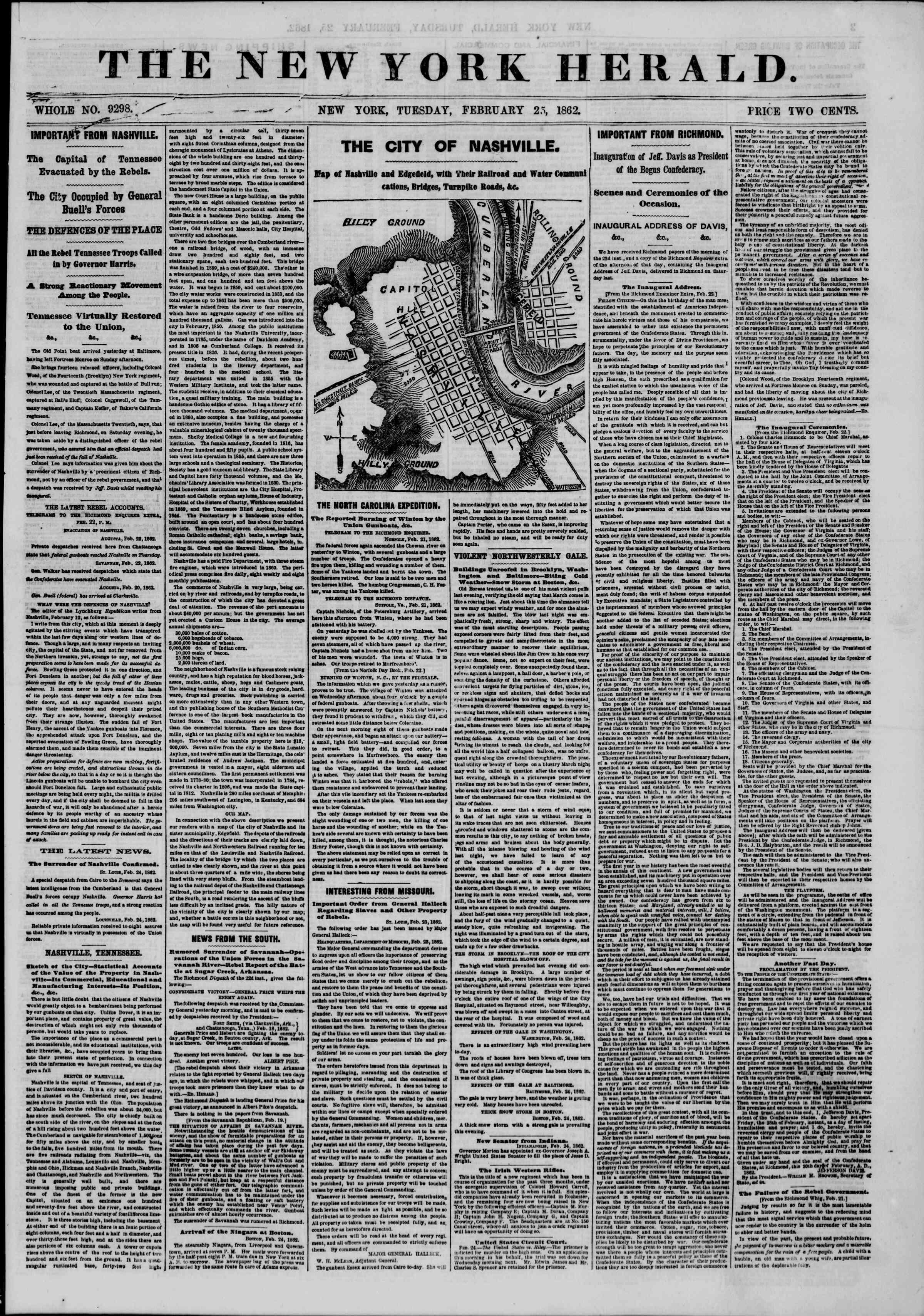 25 Şubat 1862 tarihli The New York Herald Gazetesi Sayfa 1