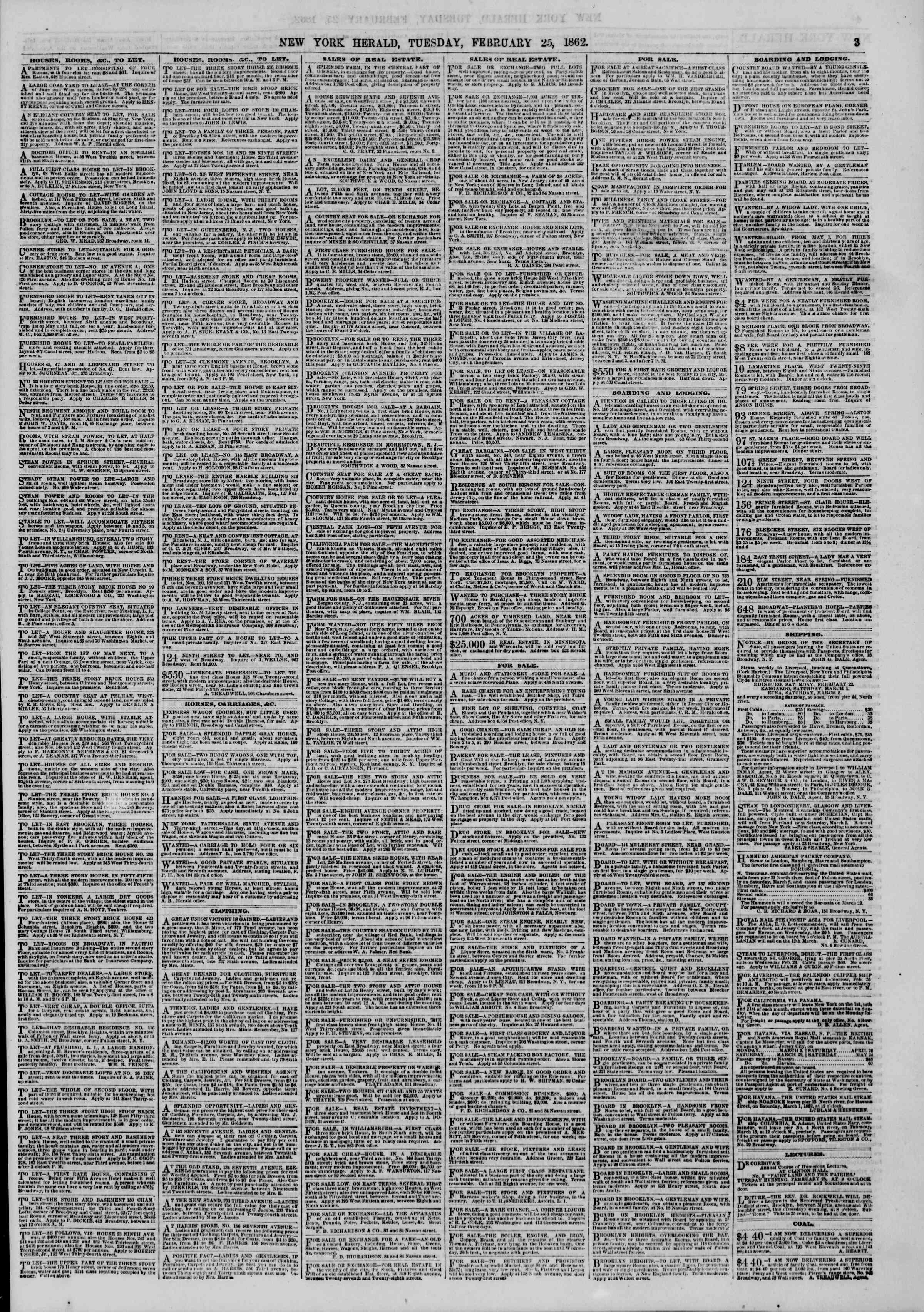 Newspaper of The New York Herald dated February 25, 1862 Page 3