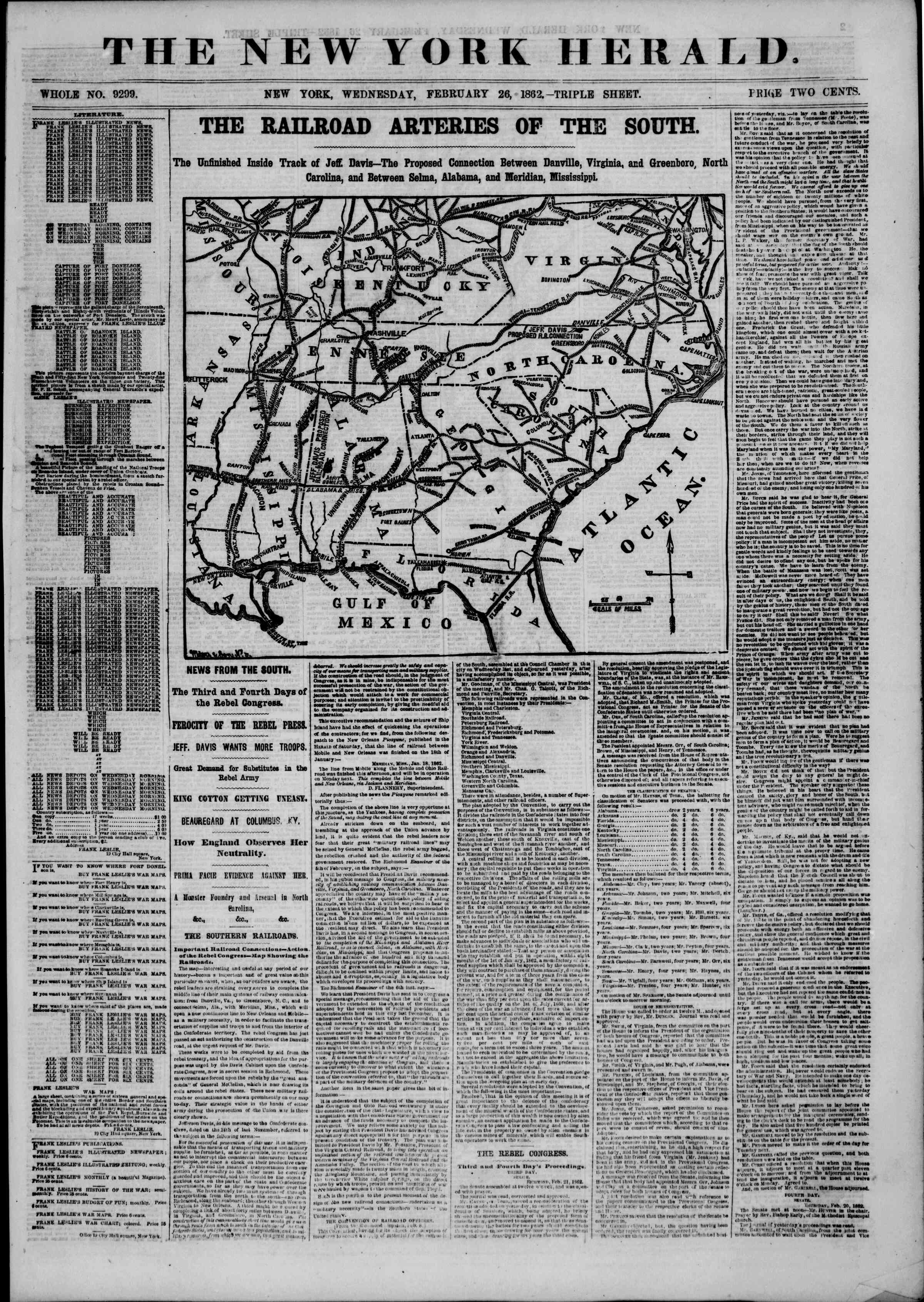 Newspaper of The New York Herald dated February 26, 1862 Page 1