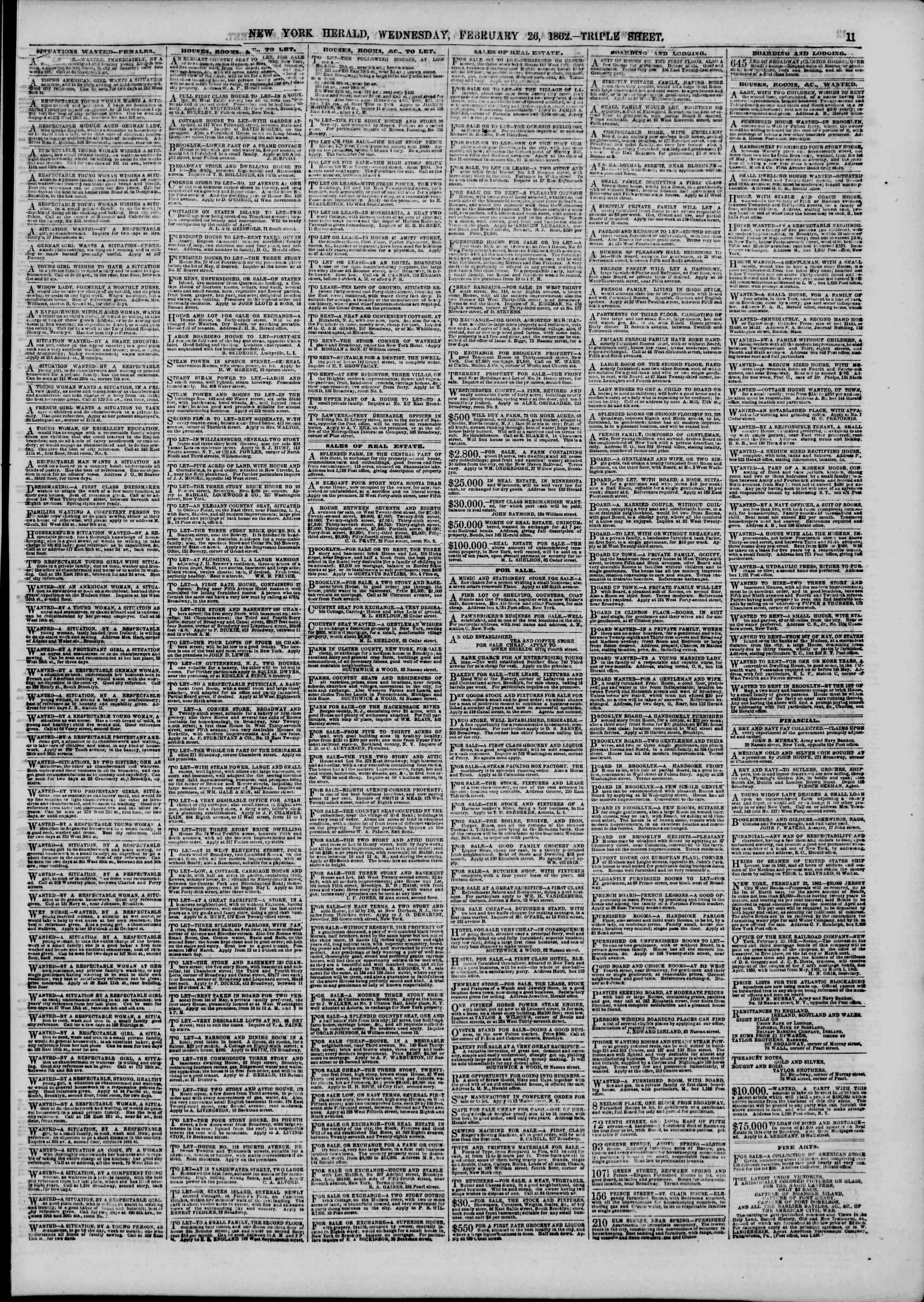 Newspaper of The New York Herald dated February 26, 1862 Page 11