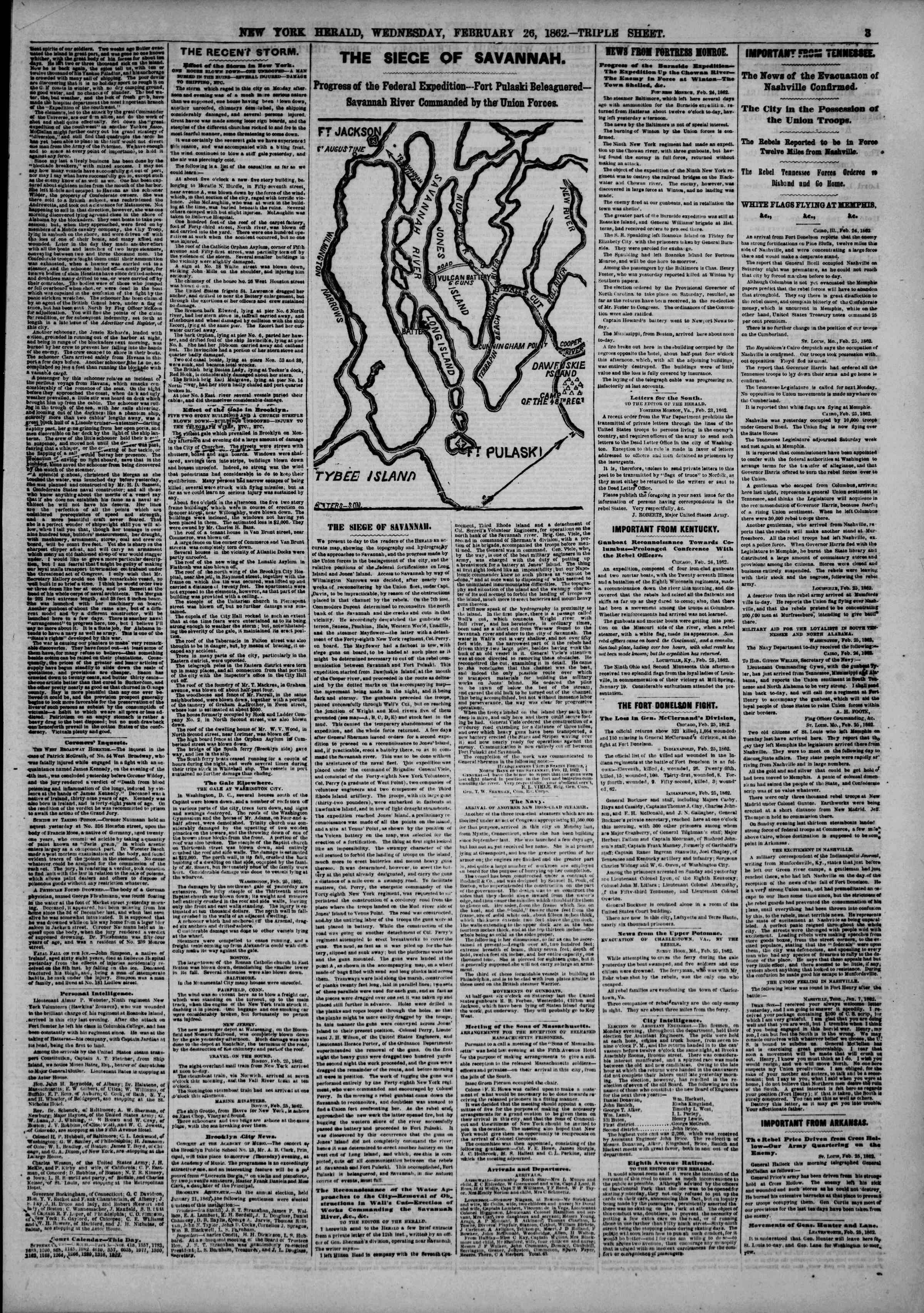 Newspaper of The New York Herald dated February 26, 1862 Page 3