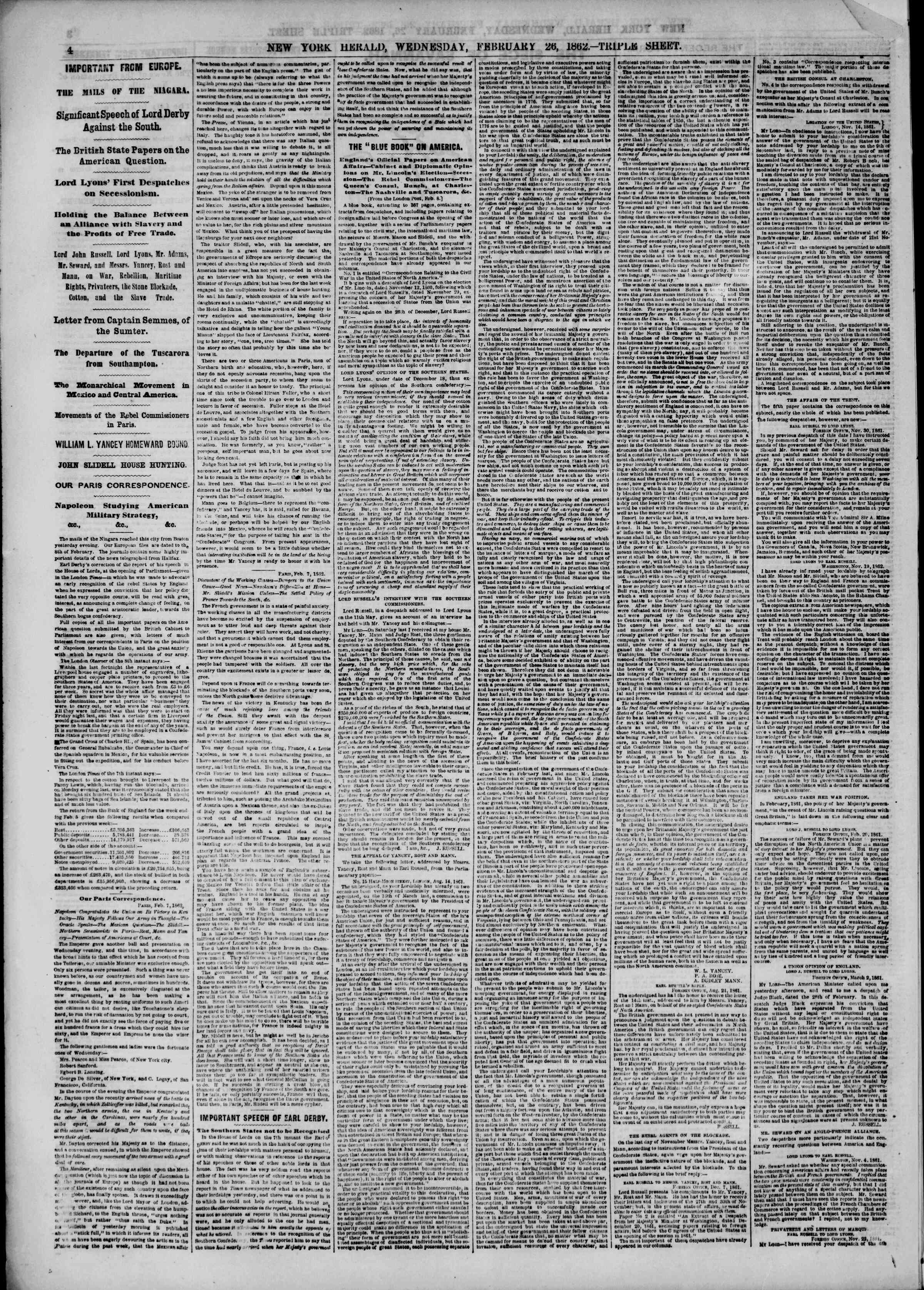 Newspaper of The New York Herald dated February 26, 1862 Page 4
