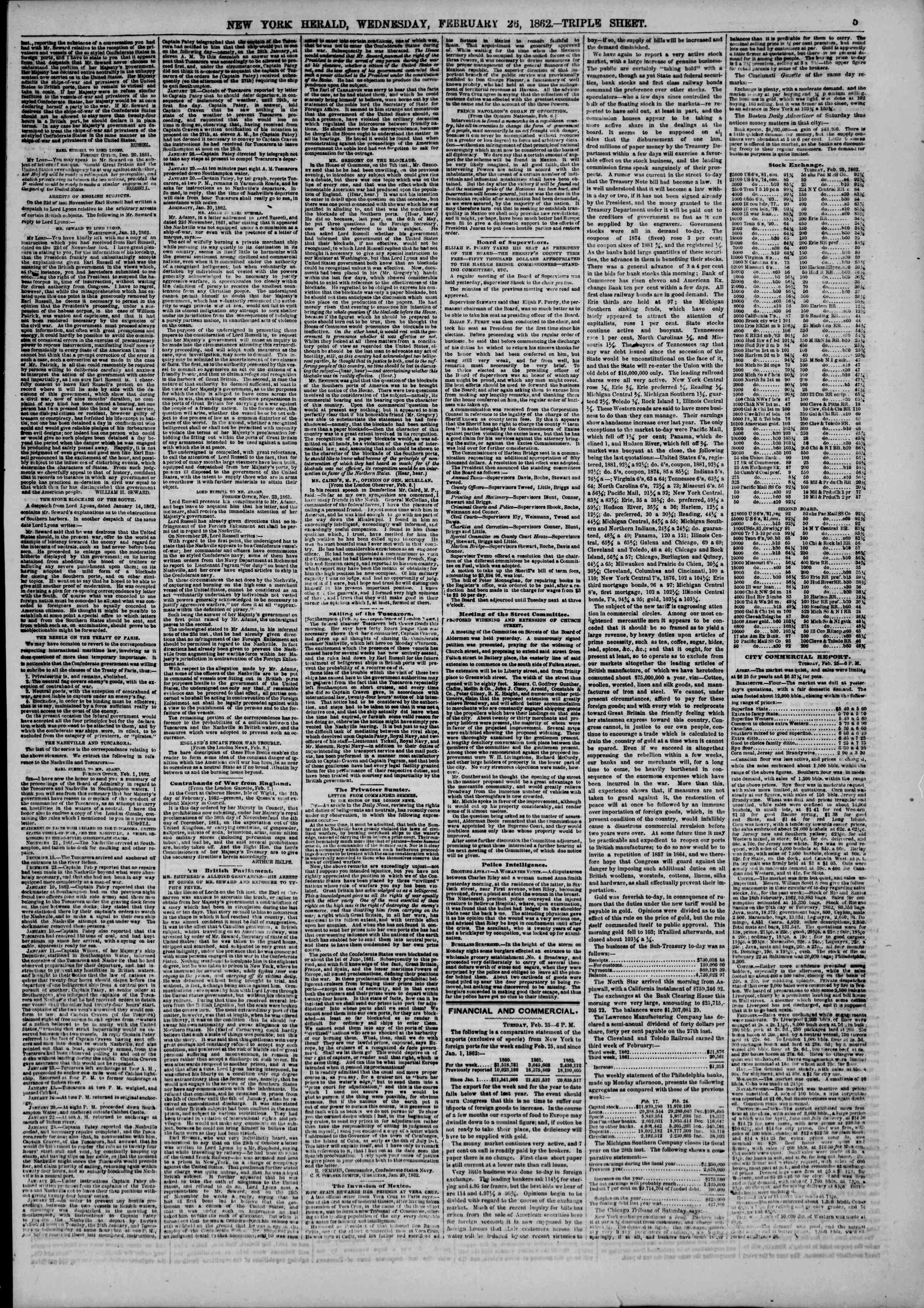 Newspaper of The New York Herald dated February 26, 1862 Page 5