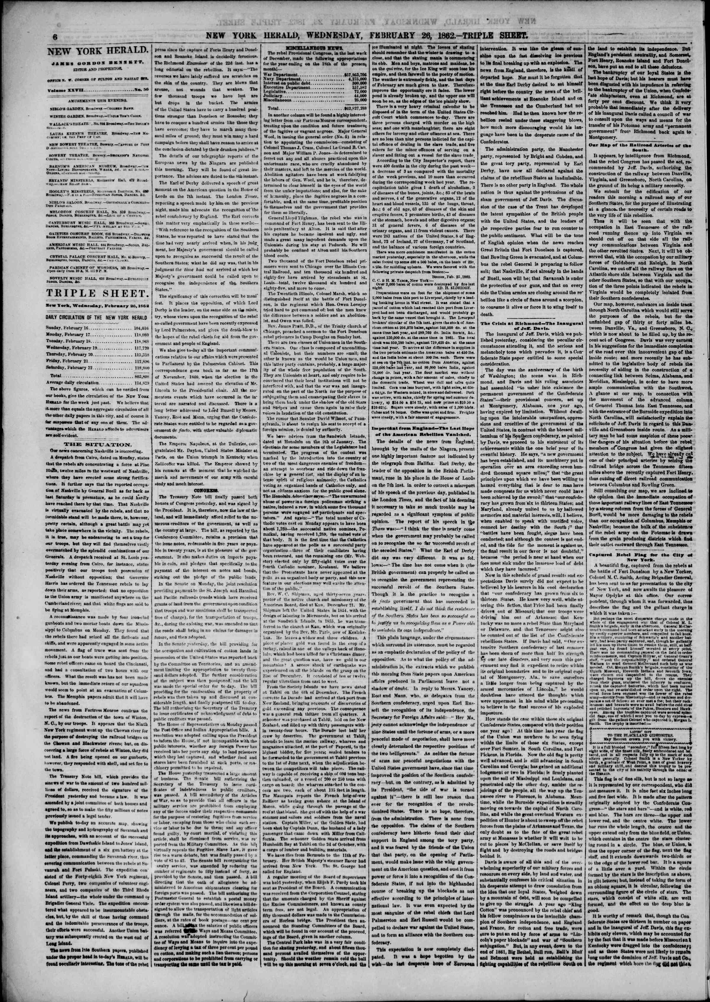 Newspaper of The New York Herald dated February 26, 1862 Page 6