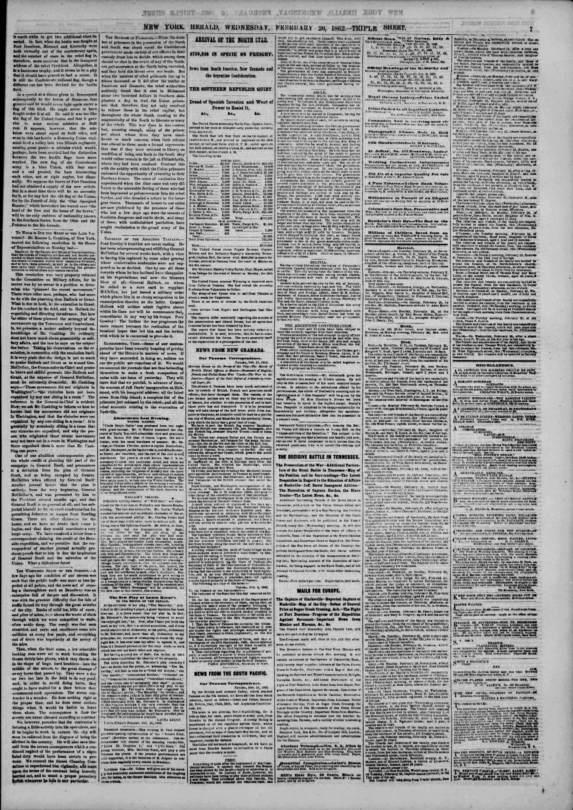 Newspaper of The New York Herald dated February 26, 1862 Page 7