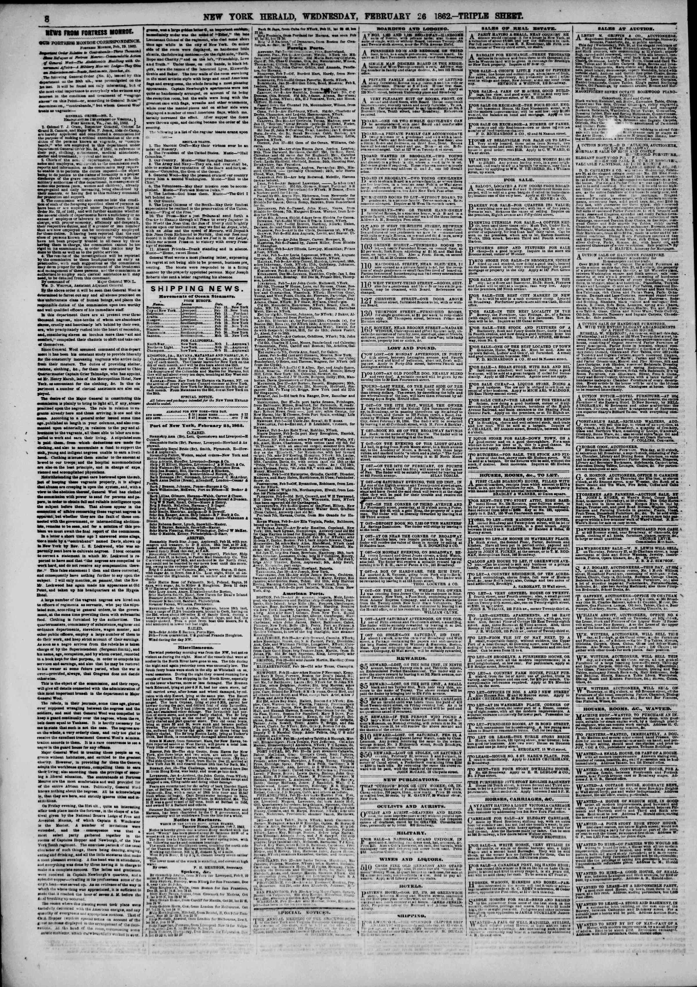 Newspaper of The New York Herald dated February 26, 1862 Page 8
