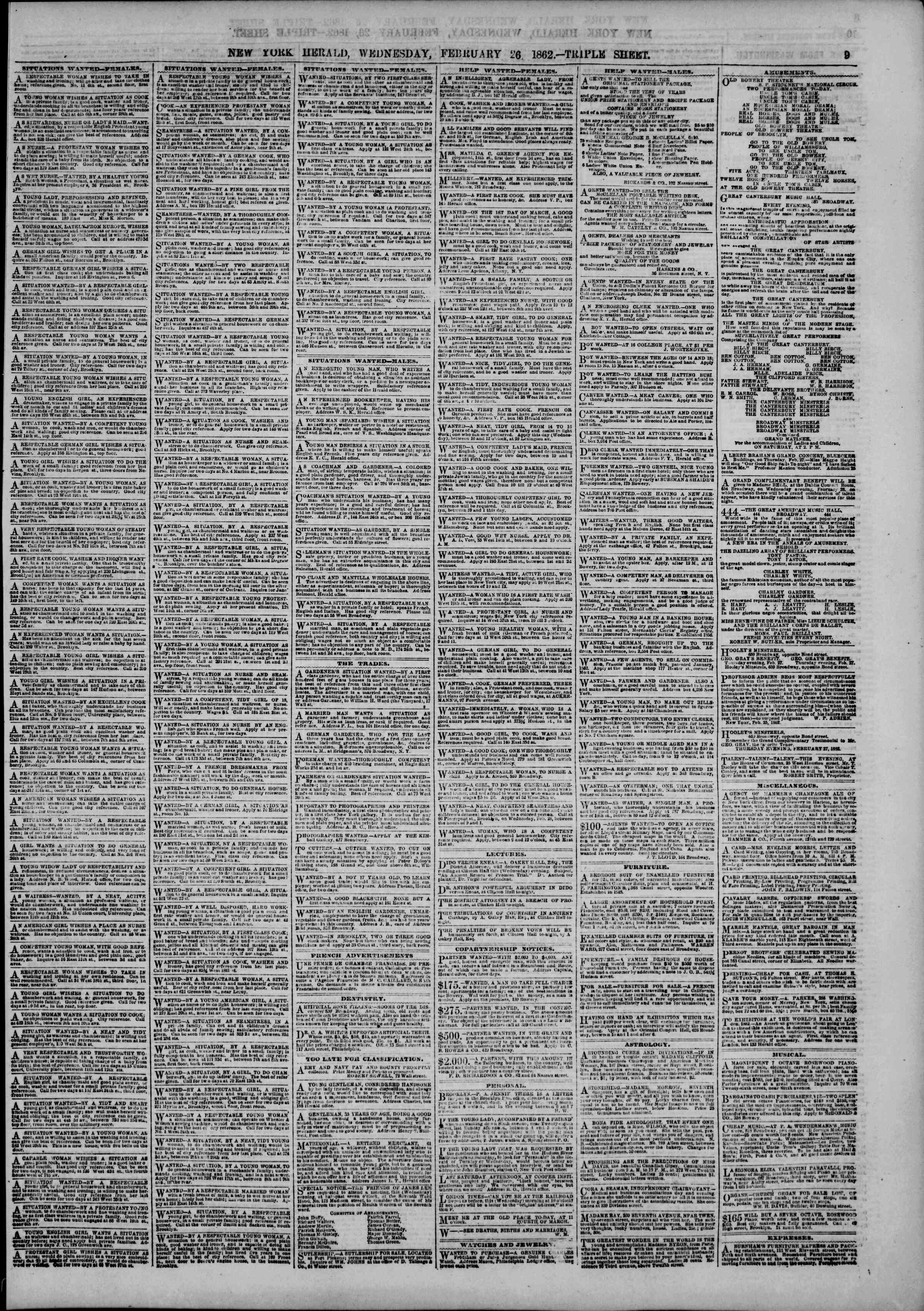 Newspaper of The New York Herald dated February 26, 1862 Page 9