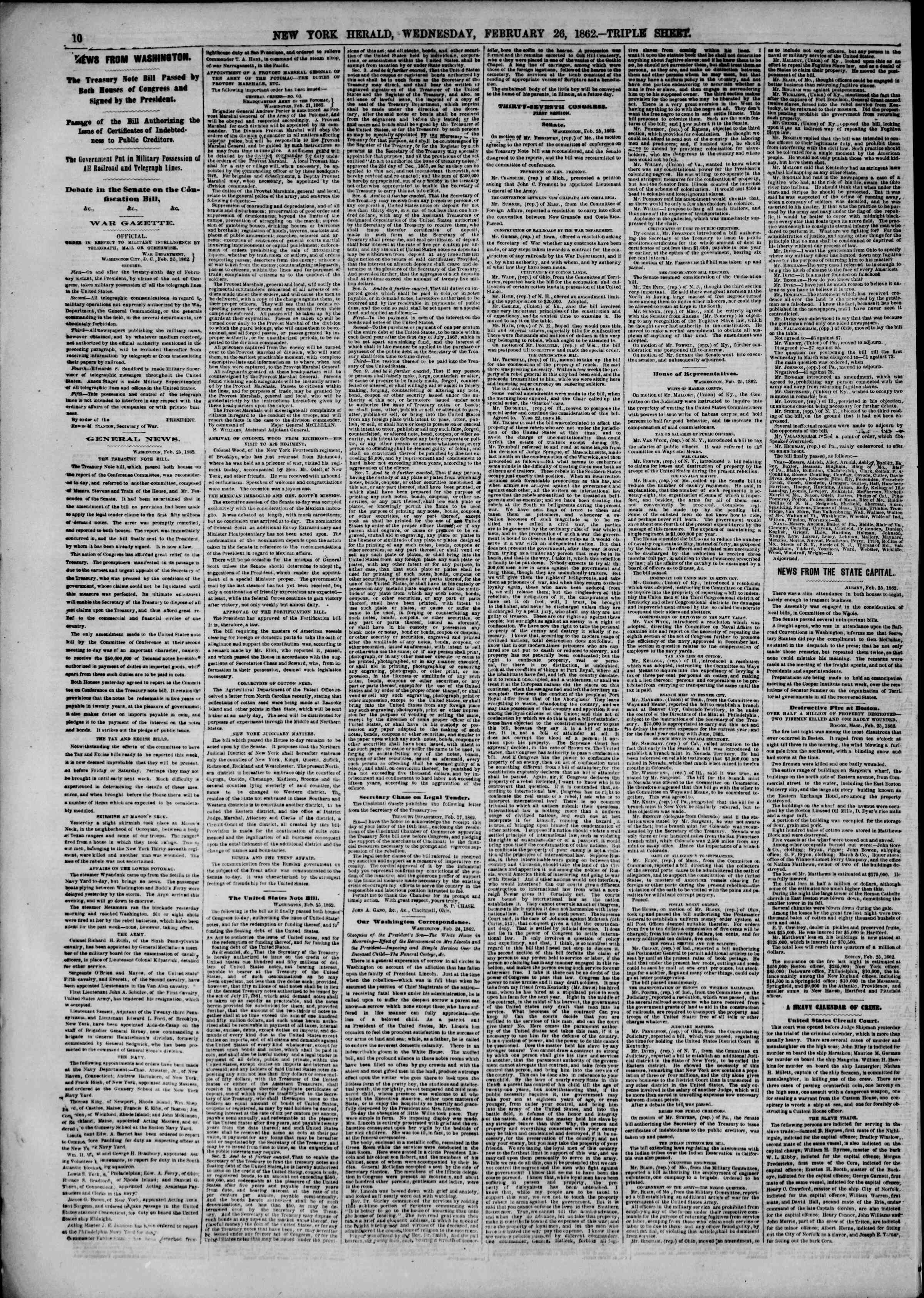 Newspaper of The New York Herald dated February 26, 1862 Page 10