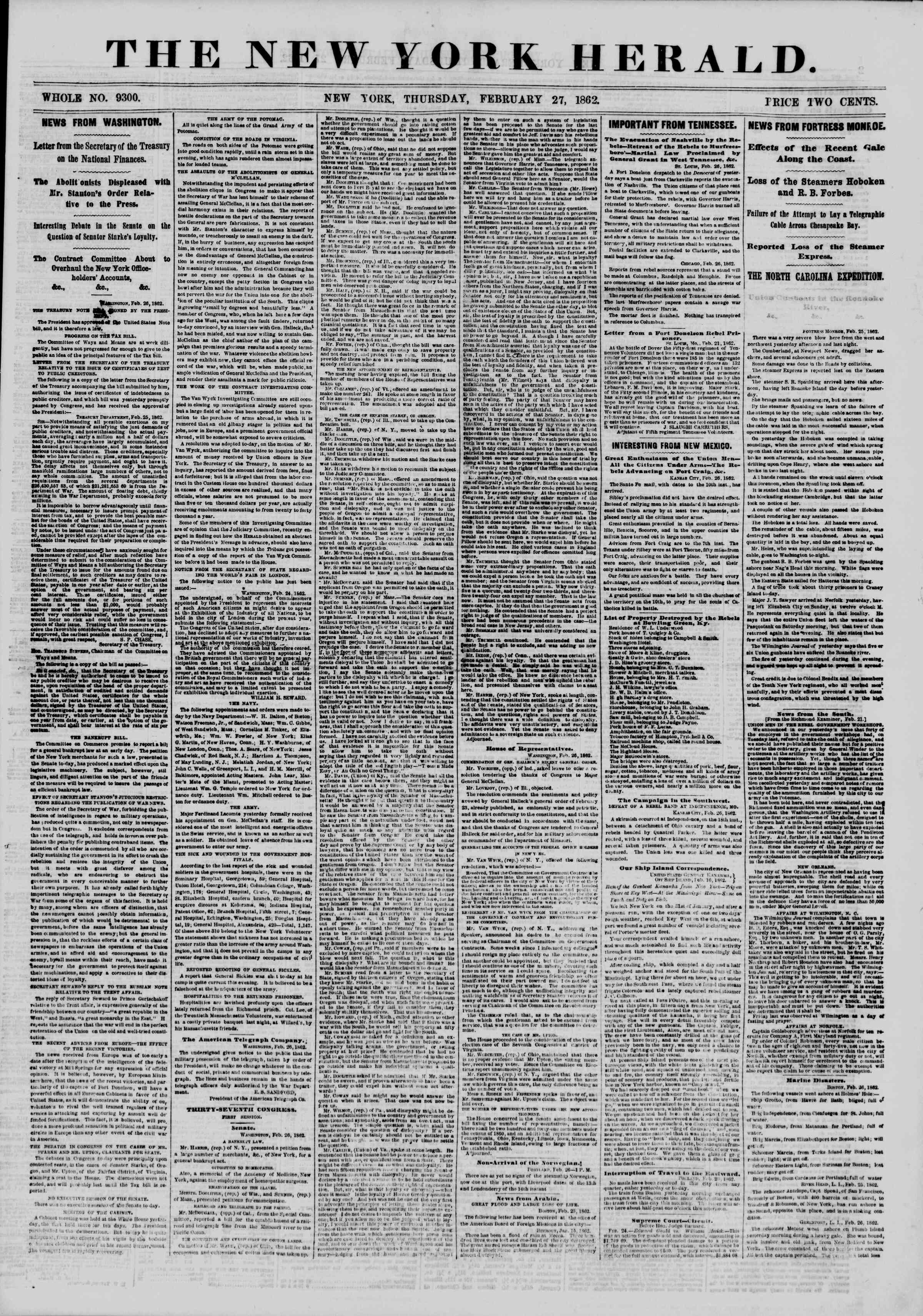 Newspaper of The New York Herald dated February 27, 1862 Page 1